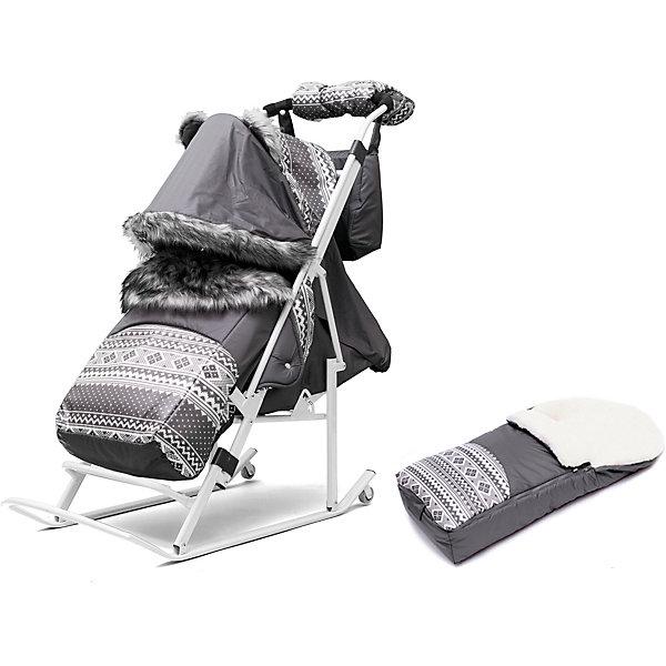 Санки-коляска Скандинавия 3УМ Экстра, белая рама, ABC Academy, серый