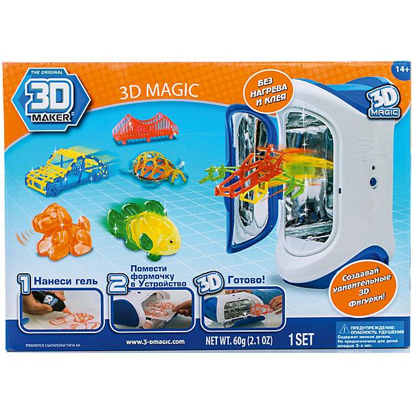 Набор 3D Magic для создания объемных моделей 3D MakerНаборы 3D ручек<br>Характеристики товара:<br><br>• материал: пластик<br>• вес: 900 г<br>• размер упаковки: 36х26х13 см<br>• комплектация: 3D Magic Maker (устройство с ультрафиолетовой лампой), 3 тюбика с гелем (красный, оранжевый, зеленый), 3 формочки, 3 трафарета, 2 дополнительных трафарета для свободного моделирования, инструкция<br>• батарейки: 3хAA/LR61.5V(пальчиковые) <br>• упаковка: коробка<br>• на русском языке<br><br>3D-моделирование - это современный и очень увлекательный вид творчества! С помощью него можно создать множество различных фигурок. Этот набор - качественный и удобный, который поможет ребенку выразить свои творческие способности. Объемная фигурка получается из безопасного материала, очень красиво смотрится. В наборе есть специальные трафареты.<br>В комплект входит всё необходимое, чтобы сразу приступить к созданию объемных фигур! Изделие произведено из качественных и безопасных для ребенка материалов. Работа с таким набором помогает развить мышление ребенка, аккуратность, внимательность, мелкую моторику и воображение. Полезный и развивающий подарок!<br><br>Набор 3D Magic для создания объемных моделей 3D Maker можно купить в нашем интернет-магазине.<br>Ширина мм: 360; Глубина мм: 260; Высота мм: 130; Вес г: 900; Возраст от месяцев: 72; Возраст до месяцев: 120; Пол: Унисекс; Возраст: Детский; SKU: 5230671;