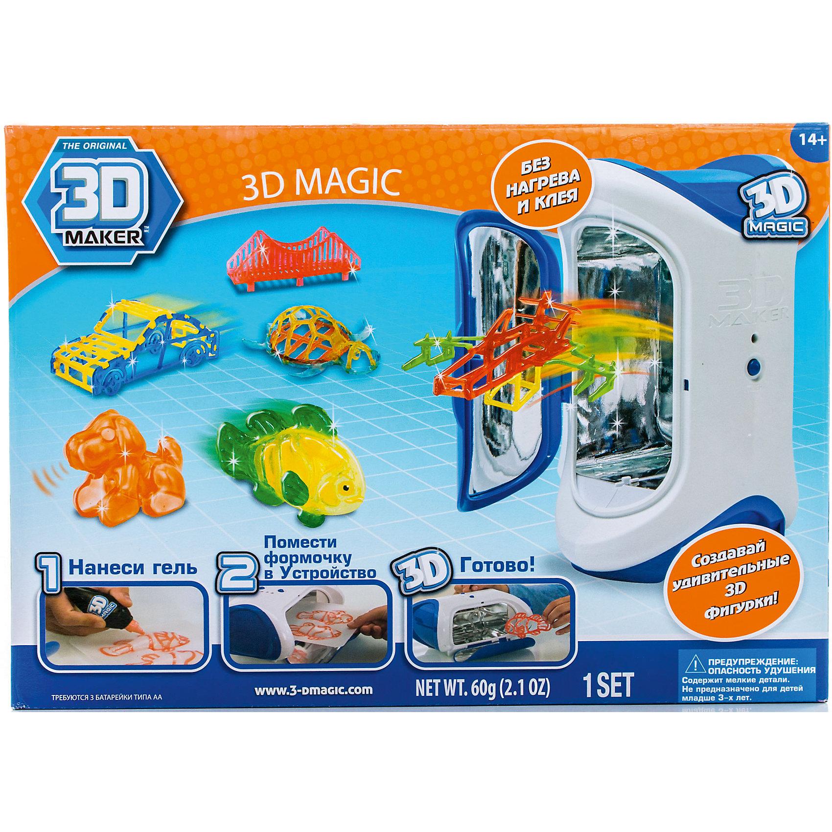 Набор 3D Magic для создания объемных моделей 3D Maker3D-ручки<br>Характеристики товара:<br><br>• материал: пластик<br>• вес: 900 г<br>• размер упаковки: 36х26х13 см<br>• комплектация: 3D Magic Maker (устройство с ультрафиолетовой лампой), 3 тюбика с гелем (красный, оранжевый, зеленый), 3 формочки, 3 трафарета, 2 дополнительных трафарета для свободного моделирования, инструкция<br>• батарейки: 3хAA/LR61.5V(пальчиковые) <br>• упаковка: коробка<br>• на русском языке<br><br>3D-моделирование - это современный и очень увлекательный вид творчества! С помощью него можно создать множество различных фигурок. Этот набор - качественный и удобный, который поможет ребенку выразить свои творческие способности. Объемная фигурка получается из безопасного материала, очень красиво смотрится. В наборе есть специальные трафареты.<br>В комплект входит всё необходимое, чтобы сразу приступить к созданию объемных фигур! Изделие произведено из качественных и безопасных для ребенка материалов. Работа с таким набором помогает развить мышление ребенка, аккуратность, внимательность, мелкую моторику и воображение. Полезный и развивающий подарок!<br><br>Набор 3D Magic для создания объемных моделей 3D Maker можно купить в нашем интернет-магазине.<br><br>Ширина мм: 360<br>Глубина мм: 260<br>Высота мм: 130<br>Вес г: 900<br>Возраст от месяцев: 72<br>Возраст до месяцев: 120<br>Пол: Унисекс<br>Возраст: Детский<br>SKU: 5230671