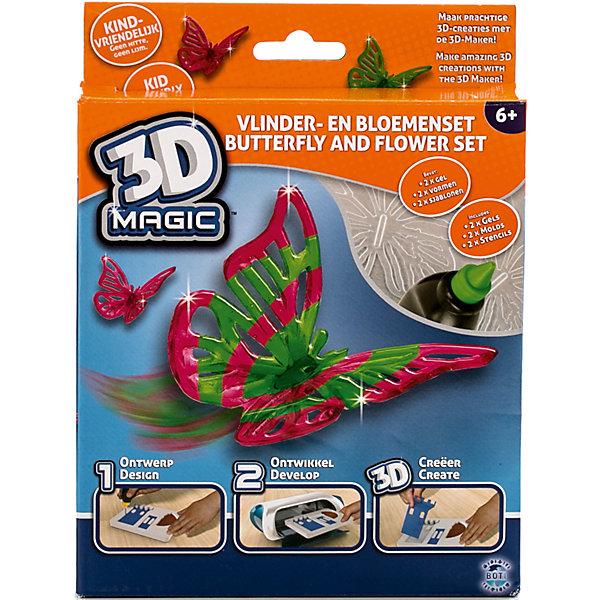 Тематический набор 3D Magic для создания объемных моделей Бабочка и цветокНаборы 3D ручек<br>Характеристики товара:<br><br>• цвет: разноцветный<br>• материал: пластик<br>• вес: 200 г<br>• размер упаковки: 16х20х4 см<br>• комплектация: 2 тюбика со специальным 3D гелем, 1 формочка бабочки, 1 трафарет бабочки, 1 формочка цветка, 1 дополнительный пустой трафарет для свободной игры, инструкция (ультрафиолетовая лампа не входит в комплект)<br>• упаковка: коробка<br>• на русском языке<br><br>3D-моделирование - это современный и очень увлекательный вид творчества! С помощью него можно создать множество различных фигурок. Этот набор - качественный и удобный, который поможет ребенку выразить свои творческие способности. Объемная фигурка получается из безопасного материала, очень красиво смотрится. В наборе есть специальные трафареты.<br>Изделие произведено из качественных и безопасных для ребенка материалов. Работа с таким набором помогает развить мышление ребенка, аккуратность, внимательность, мелкую моторику и воображение. Полезный подарок для тех, у кого уже есть специальная 3Д-лампа!<br><br>Тематический набор 3D Magic для создания объемных моделей Бабочка и цветок можно купить в нашем интернет-магазине.<br><br>Ширина мм: 160<br>Глубина мм: 200<br>Высота мм: 40<br>Вес г: 204<br>Возраст от месяцев: 72<br>Возраст до месяцев: 120<br>Пол: Женский<br>Возраст: Детский<br>SKU: 5230672
