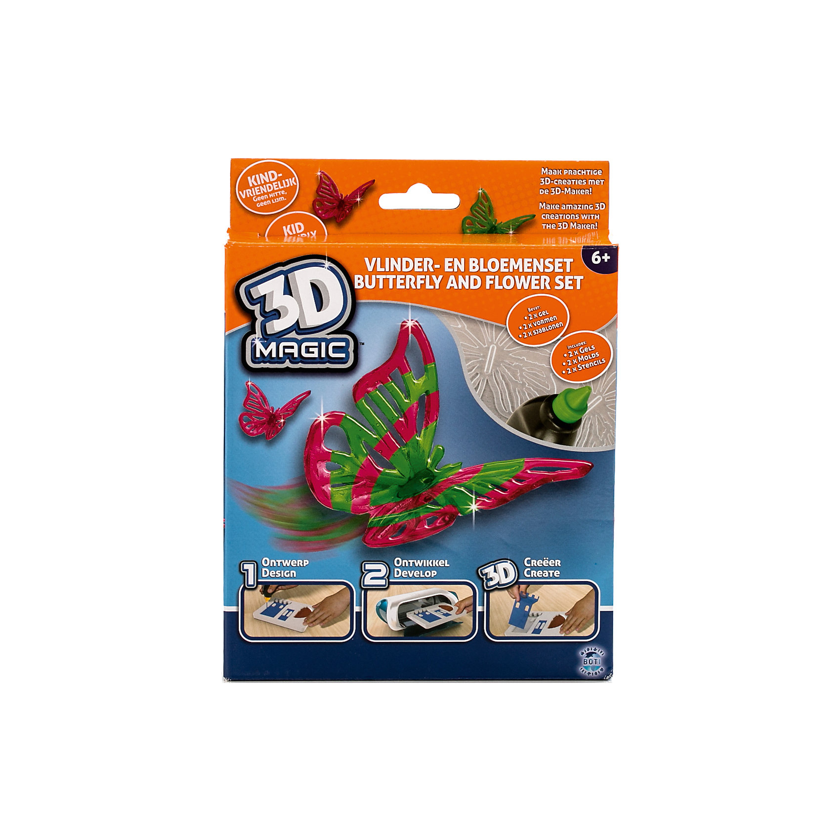 Тематический набор 3D Magic для создания объемных моделей Бабочка и цветокХарактеристики товара:<br><br>• цвет: разноцветный<br>• материал: пластик<br>• вес: 200 г<br>• размер упаковки: 16х20х4 см<br>• комплектация: 2 тюбика со специальным 3D гелем, 1 формочка бабочки, 1 трафарет бабочки, 1 формочка цветка, 1 дополнительный пустой трафарет для свободной игры, инструкция (ультрафиолетовая лампа не входит в комплект)<br>• упаковка: коробка<br>• на русском языке<br><br>3D-моделирование - это современный и очень увлекательный вид творчества! С помощью него можно создать множество различных фигурок. Этот набор - качественный и удобный, который поможет ребенку выразить свои творческие способности. Объемная фигурка получается из безопасного материала, очень красиво смотрится. В наборе есть специальные трафареты.<br>Изделие произведено из качественных и безопасных для ребенка материалов. Работа с таким набором помогает развить мышление ребенка, аккуратность, внимательность, мелкую моторику и воображение. Полезный подарок для тех, у кого уже есть специальная 3Д-лампа!<br><br>Тематический набор 3D Magic для создания объемных моделей Бабочка и цветок можно купить в нашем интернет-магазине.<br><br>Ширина мм: 160<br>Глубина мм: 200<br>Высота мм: 40<br>Вес г: 204<br>Возраст от месяцев: 72<br>Возраст до месяцев: 120<br>Пол: Женский<br>Возраст: Детский<br>SKU: 5230672
