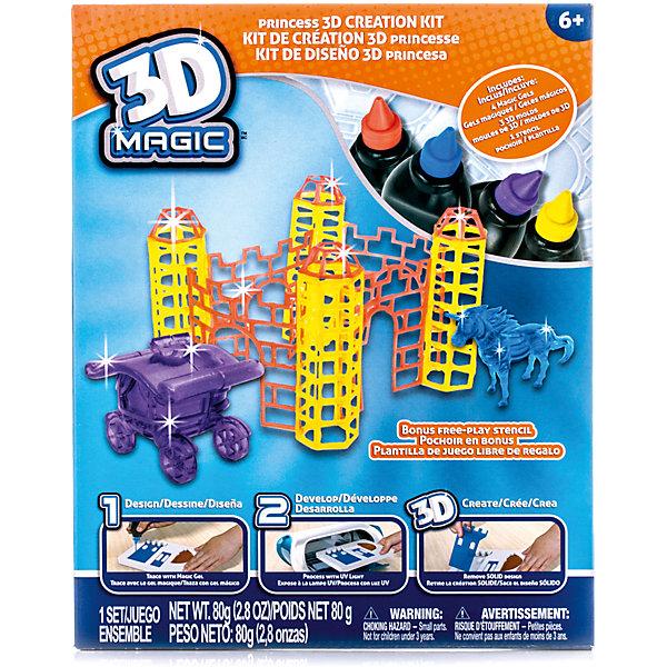 Набор 3D Magic для создания замка принцессыНаборы 3D ручек<br>Характеристики товара:<br><br>• материал: пластик<br>• вес: 380 г<br>• размер упаковки: 26х21х8 см<br>• комплектация: 4 тюбика со специальным 3D гелем, 3D формочка башен / трафарет для стен, 3D формочка единорога, 3D формочка кареты принцессы, дополнительный пустой трафарет для свободной игры (ультрафиолетовая лампа не входит в комплект)<br>• упаковка: коробка<br>• на русском языке<br><br>3D-моделирование - это современный и очень увлекательный вид творчества! С помощью него можно создать множество различных фигурок. Этот набор - качественный и удобный, который поможет ребенку выразить свои творческие способности. Объемная фигурка получается из безопасного материала, очень красиво смотрится. В наборе есть специальные трафареты.<br>Изделие произведено из качественных и безопасных для ребенка материалов. Работа с таким набором помогает развить мышление ребенка, аккуратность, внимательность, мелкую моторику и воображение. Полезный подарок для тех, у кого уже есть специальная 3Д-лампа!<br><br>Набор 3D Magic для создания замка принцессы можно купить в нашем интернет-магазине.<br><br>Ширина мм: 210<br>Глубина мм: 260<br>Высота мм: 80<br>Вес г: 380<br>Возраст от месяцев: 72<br>Возраст до месяцев: 120<br>Пол: Женский<br>Возраст: Детский<br>SKU: 5230673