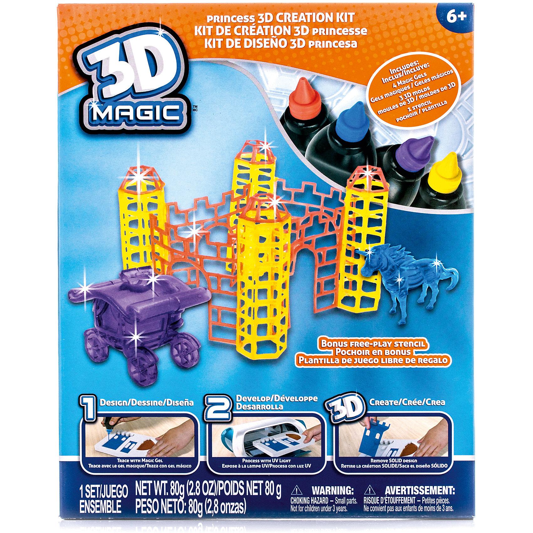 Набор 3D Magic для создания замка принцессы3D-ручки<br>Характеристики товара:<br><br>• материал: пластик<br>• вес: 380 г<br>• размер упаковки: 26х21х8 см<br>• комплектация: 4 тюбика со специальным 3D гелем, 3D формочка башен / трафарет для стен, 3D формочка единорога, 3D формочка кареты принцессы, дополнительный пустой трафарет для свободной игры (ультрафиолетовая лампа не входит в комплект)<br>• упаковка: коробка<br>• на русском языке<br><br>3D-моделирование - это современный и очень увлекательный вид творчества! С помощью него можно создать множество различных фигурок. Этот набор - качественный и удобный, который поможет ребенку выразить свои творческие способности. Объемная фигурка получается из безопасного материала, очень красиво смотрится. В наборе есть специальные трафареты.<br>Изделие произведено из качественных и безопасных для ребенка материалов. Работа с таким набором помогает развить мышление ребенка, аккуратность, внимательность, мелкую моторику и воображение. Полезный подарок для тех, у кого уже есть специальная 3Д-лампа!<br><br>Набор 3D Magic для создания замка принцессы можно купить в нашем интернет-магазине.<br><br>Ширина мм: 210<br>Глубина мм: 260<br>Высота мм: 80<br>Вес г: 380<br>Возраст от месяцев: 72<br>Возраст до месяцев: 120<br>Пол: Женский<br>Возраст: Детский<br>SKU: 5230673
