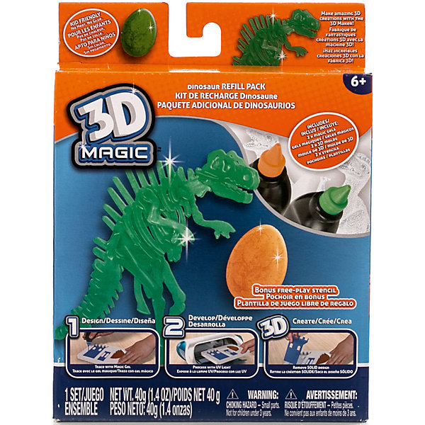 Тематический набор 3D Magic для создания объемных моделей Тиранозавр РексНаборы 3D ручек<br>Характеристики товара:<br><br>• материал: пластик<br>• вес: 200 г<br>• размер упаковки: 16х20х4 см<br>• комплектация: 2 тюбика со специальным 3D гелем, формочка динозавра, формочка яйца динозавра, трафарет скелета динозавра, дополнительный пустой трафарет для свободной игры (ультрафиолетовая лампа не входит в комплект)<br>• упаковка: коробка<br>• на русском языке<br><br>3D-моделирование - это современный и очень увлекательный вид творчества! С помощью него можно создать множество различных фигурок. Этот набор - качественный и удобный, который поможет ребенку выразить свои творческие способности. Объемная фигурка получается из безопасного материала, очень красиво смотрится. В наборе есть специальные трафареты.<br>Изделие произведено из качественных и безопасных для ребенка материалов. Работа с таким набором помогает развить мышление ребенка, аккуратность, внимательность, мелкую моторику и воображение. Полезный подарок для тех, у кого уже есть специальная 3Д-лампа!<br><br>Тематический набор 3D Magic для создания объемных моделей Тиранозавр Рекс можно купить в нашем интернет-магазине.<br><br>Ширина мм: 160<br>Глубина мм: 200<br>Высота мм: 40<br>Вес г: 216<br>Возраст от месяцев: 72<br>Возраст до месяцев: 120<br>Пол: Мужской<br>Возраст: Детский<br>SKU: 5230674