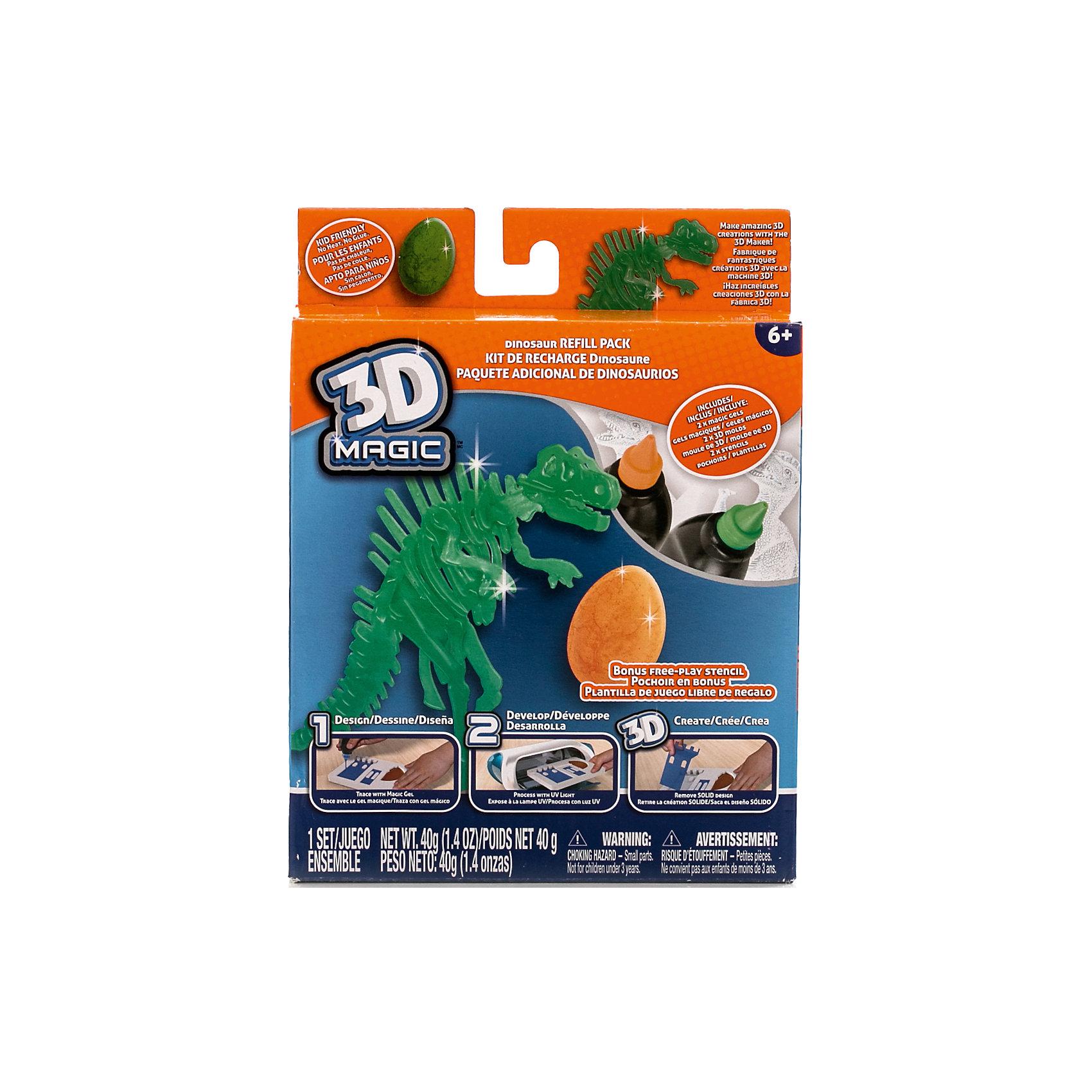 Тематический набор 3D Magic для создания объемных моделей Тиранозавр Рекс3D-ручки<br>Характеристики товара:<br><br>• материал: пластик<br>• вес: 200 г<br>• размер упаковки: 16х20х4 см<br>• комплектация: 2 тюбика со специальным 3D гелем, формочка динозавра, формочка яйца динозавра, трафарет скелета динозавра, дополнительный пустой трафарет для свободной игры (ультрафиолетовая лампа не входит в комплект)<br>• упаковка: коробка<br>• на русском языке<br><br>3D-моделирование - это современный и очень увлекательный вид творчества! С помощью него можно создать множество различных фигурок. Этот набор - качественный и удобный, который поможет ребенку выразить свои творческие способности. Объемная фигурка получается из безопасного материала, очень красиво смотрится. В наборе есть специальные трафареты.<br>Изделие произведено из качественных и безопасных для ребенка материалов. Работа с таким набором помогает развить мышление ребенка, аккуратность, внимательность, мелкую моторику и воображение. Полезный подарок для тех, у кого уже есть специальная 3Д-лампа!<br><br>Тематический набор 3D Magic для создания объемных моделей Тиранозавр Рекс можно купить в нашем интернет-магазине.<br><br>Ширина мм: 160<br>Глубина мм: 200<br>Высота мм: 40<br>Вес г: 216<br>Возраст от месяцев: 72<br>Возраст до месяцев: 120<br>Пол: Мужской<br>Возраст: Детский<br>SKU: 5230674