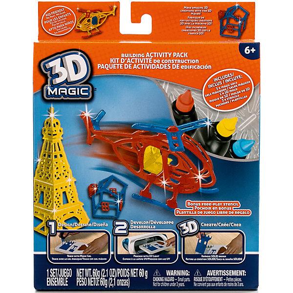 Большой набор 3D Magic для мальчиковНаборы 3D ручек<br>Характеристики товара:<br><br>• материал: пластик<br>• вес: 260 г<br>• размер упаковки: 18х23х5 см<br>• комплектация: 3 тюбика со специальным 3D гелем, трафарет вертолёта, 3D формочка дома, 3D формочка Эйфелевой башни, дополнительный пустой трафарет для свободной игры, инструкция (ультрафиолетовая лампа не входит в комплект)<br>• упаковка: коробка<br>• на русском языке<br><br>3D-моделирование - это современный и очень увлекательный вид творчества! С помощью него можно создать множество различных фигурок. Этот набор - качественный и удобный, который поможет ребенку выразить свои творческие способности. Объемная фигурка получается из безопасного материала, очень красиво смотрится. В наборе есть специальные трафареты.<br>Изделие произведено из качественных и безопасных для ребенка материалов. Работа с таким набором помогает развить мышление ребенка, аккуратность, внимательность, мелкую моторику и воображение. Полезный подарок для тех, у кого уже есть специальная 3Д-лампа!<br><br>Большой набор 3D Magic для мальчиков можно купить в нашем интернет-магазине.<br><br>Ширина мм: 180<br>Глубина мм: 230<br>Высота мм: 50<br>Вес г: 258<br>Возраст от месяцев: 72<br>Возраст до месяцев: 120<br>Пол: Мужской<br>Возраст: Детский<br>SKU: 5230675