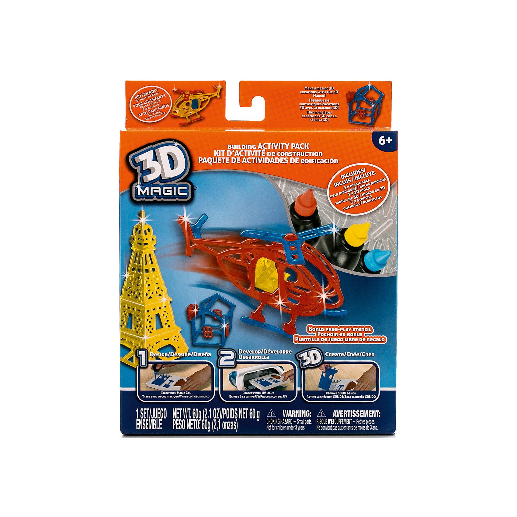 Большой набор 3D Magic для мальчиков3 x тюбика со специальным 3D гелем, 1 x трафарет вертолёта, 1 x 3D формочка дома, 1 x 3D формочка Эйфелевой башни, 1 x дополнительный пустой трафарет для свободной игры, 1 x Инструкция<br><br>Ширина мм: 180<br>Глубина мм: 230<br>Высота мм: 50<br>Вес г: 258<br>Возраст от месяцев: 72<br>Возраст до месяцев: 120<br>Пол: Мужской<br>Возраст: Детский<br>SKU: 5230675