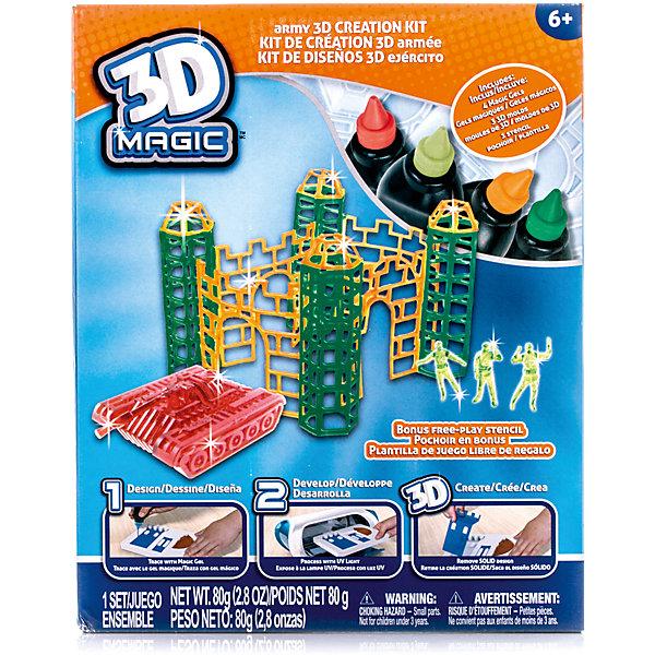 Набор 3D Magic для создания боевой крепостиНаборы 3D ручек<br>Характеристики товара:<br><br>• материал: пластик<br>• вес: 380 г<br>• размер упаковки: 26х21х8 см<br>• комплектация: 4 тюбика со специальным 3D гелем, 3D формочка орудийных башен / трафарет стен, 3 3D формочки воинов, 3D формочка танка, дополнительный пустой трафарет для свободной игры, инструкция (ультрафиолетовая лампа не входит в комплект)<br>• упаковка: коробка<br>• на русском языке<br><br>3D-моделирование - это современный и очень увлекательный вид творчества! С помощью него можно создать множество различных фигурок. Этот набор - качественный и удобный, который поможет ребенку выразить свои творческие способности. Объемная фигурка получается из безопасного материала, очень красиво смотрится. В наборе есть специальные трафареты.<br>Изделие произведено из качественных и безопасных для ребенка материалов. Работа с таким набором помогает развить мышление ребенка, аккуратность, внимательность, мелкую моторику и воображение. Полезный подарок для тех, у кого уже есть специальная 3Д-лампа!<br><br>Набор 3D Magic для создания боевой крепости можно купить в нашем интернет-магазине.<br><br>Ширина мм: 210<br>Глубина мм: 250<br>Высота мм: 80<br>Вес г: 380<br>Возраст от месяцев: 72<br>Возраст до месяцев: 120<br>Пол: Мужской<br>Возраст: Детский<br>SKU: 5230676