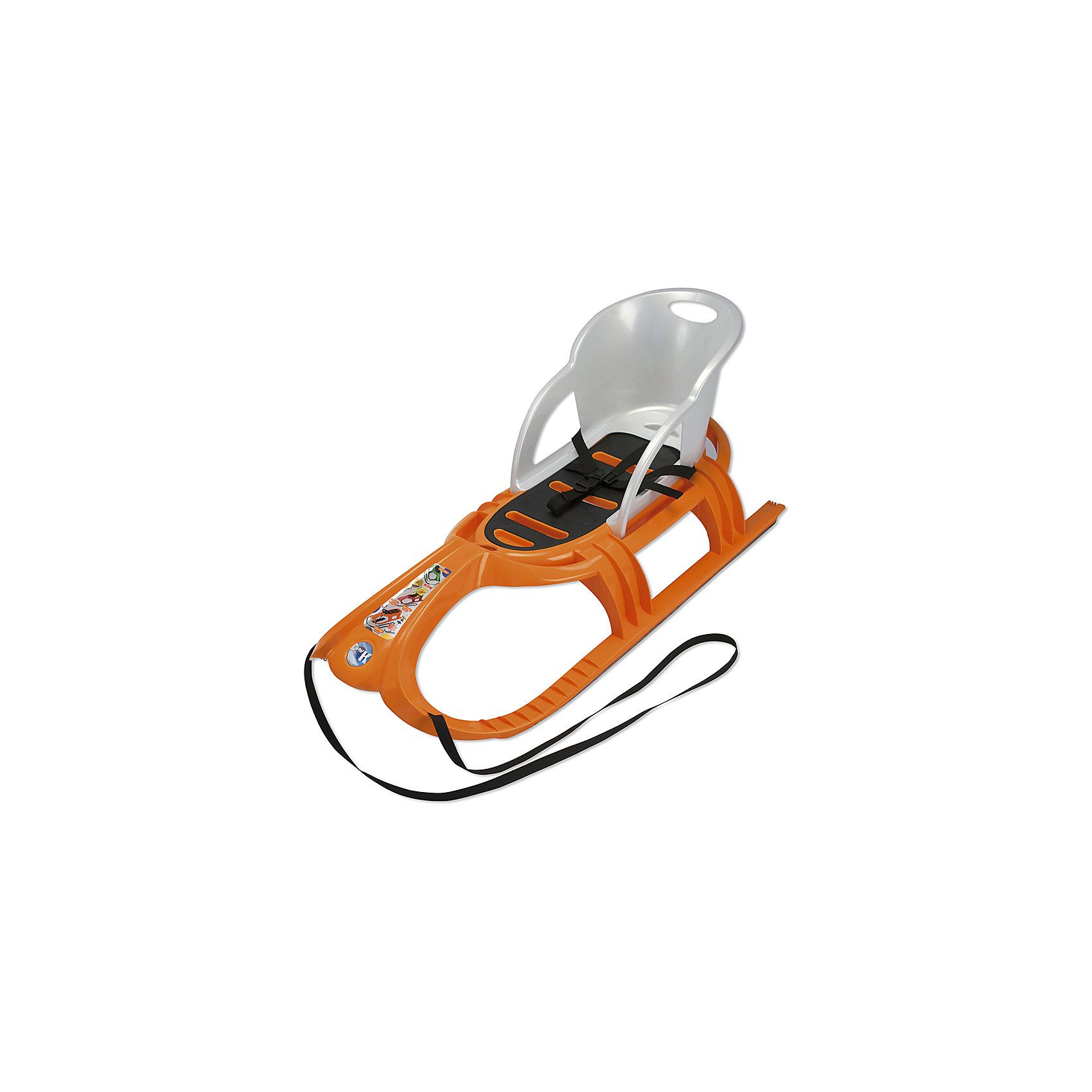Санки детские Snow Tiger Comfort со спинкой, оранжевые, KHW