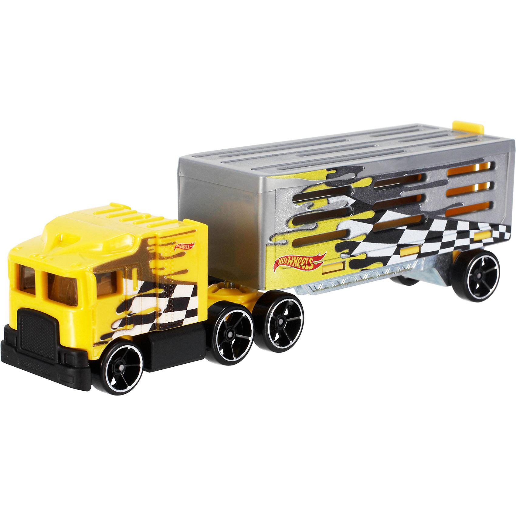Трейлер базовой коллекции, Hot WheelsПопулярные игрушки<br>Характеристики:<br><br>• Вид игр: сюжетно-ролевые<br>• Предназначение: для дома<br>• Серия: Track Stars<br>• Пол: для мальчиков<br>• Материал: пластик, металл<br>• Цвет: желтый, серый, черный, белый<br>• Длина трейлера с прицепом: 28 см<br>• Вес:  130 г <br>• Особенности ухода: разрешается мыть водой<br>• Упаковка: блистер на картоне<br><br>Трейлер базовой коллекции, Hot Wheels – это машинка серии Hot Wheels, которая относится к базовым игровым наборам. Трейлер с прицепом выполнен из пластика и металла, все элементы окрашены нетоксичными яркими красками. При изготовлении игрушки быди использованы сертифицированные материалы, которые обеспечивают безопасность во время игр. Машинка состоит из кабины и прицепа, который может отсоединяться. В прицепе можно перевозить гоночные машинки. Размеры трейлера позволяют обеспечить маневренность и скоростной спунк по трекам Hot Wheels.<br>С трейлером базовой коллекции, Hot Wheels можно воссоздавать самые невероятные и захватывающие гонки Hot Wheels!<br><br>Трейлер базовой коллекции, Hot Wheels можно купить в нашем магазине.<br><br>Ширина мм: 40<br>Глубина мм: 130<br>Высота мм: 110<br>Вес г: 126<br>Возраст от месяцев: 48<br>Возраст до месяцев: 96<br>Пол: Мужской<br>Возраст: Детский<br>SKU: 5233734