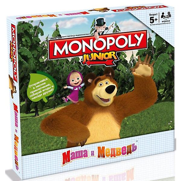 Настольная игра Монополия Маша и МедведьЭкономические настольные игры<br>Характеристики:<br><br>• вид настольной игры: монополия;<br>• количество игроков: от 2 до 4 человек;<br>• продолжительность игры: 60 минут;<br>• размер упаковки: 27x40x5 см.<br><br>Настольная игра «Монополия» оформлена в стиле популярного мультсериала для детей «Маша и Медведь». Знаменитые персонажи встречаются на игровом поле, покупают, продают и помогают игрокам заработать свои «миллионы». <br><br>Комплектация настольной игры Monopoly Junior: <br><br>• Игровое поле,<br>• 32 карточки Дома,<br>• 16 карточек Лесные приключения,<br>• 16 карточек Машины друзья,<br>• 70 карточек Ягоды,<br>• 4 фишки,<br>• 1 банка варенья,<br>• 1 кубик,<br>• правила игры.<br><br>Настольную игру Монополия Маша и Медведь, можно купить в нашем интернет-магазине.<br>Ширина мм: 270; Глубина мм: 270; Высота мм: 50; Вес г: 610; Возраст от месяцев: 60; Возраст до месяцев: 2147483647; Пол: Унисекс; Возраст: Детский; SKU: 5236171;
