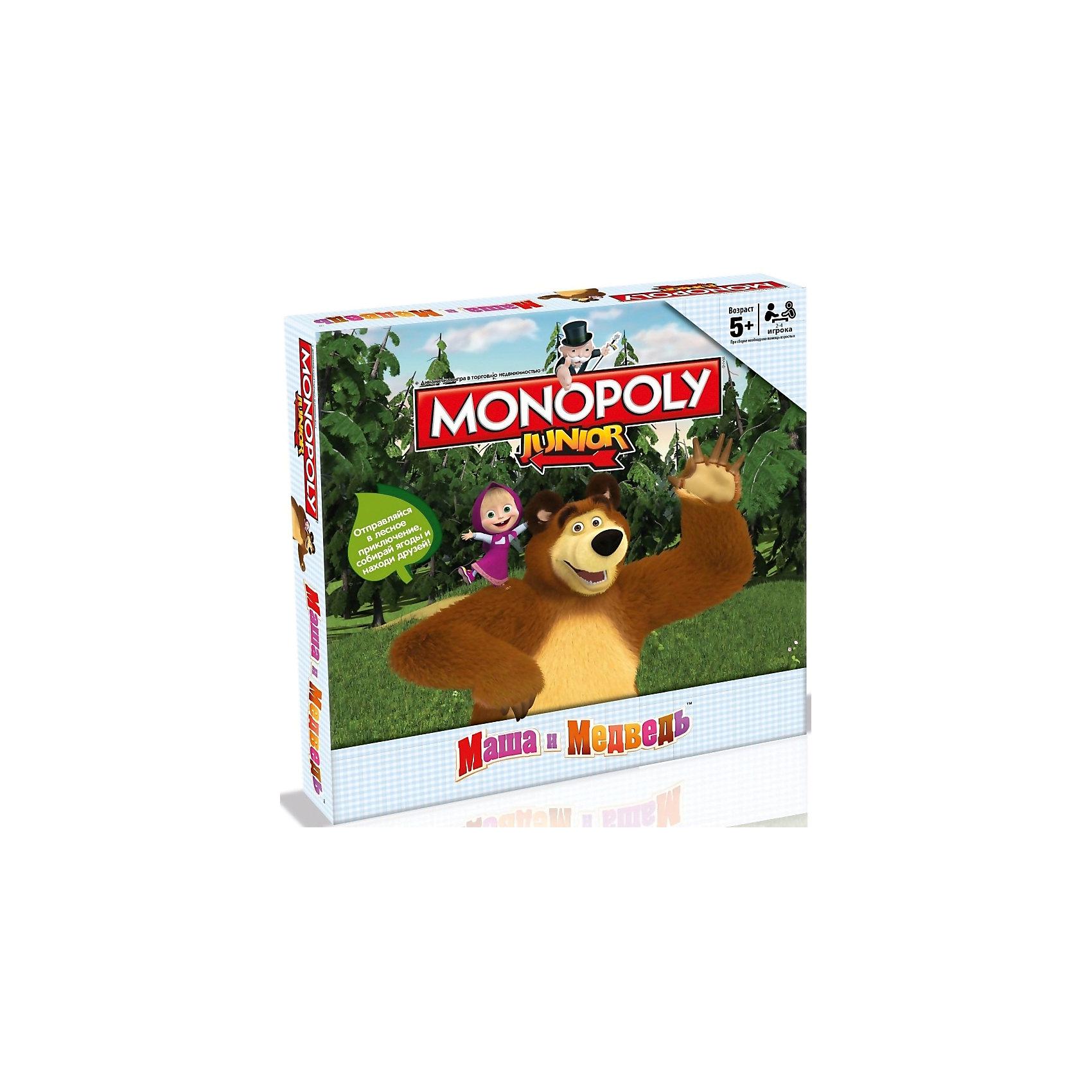 Настольная игра Монополия Маша и МедведьХарактеристики:<br><br>• вид настольной игры: монополия;<br>• количество игроков: от 2 до 4 человек;<br>• продолжительность игры: 60 минут;<br>• размер упаковки: 27x40x5 см.<br><br>Настольная игра «Монополия» оформлена в стиле популярного мультсериала для детей «Маша и Медведь». Знаменитые персонажи встречаются на игровом поле, покупают, продают и помогают игрокам заработать свои «миллионы». <br><br>Комплектация настольной игры Monopoly Junior: <br><br>• Игровое поле,<br>• 32 карточки Дома,<br>• 16 карточек Лесные приключения,<br>• 16 карточек Машины друзья,<br>• 70 карточек Ягоды,<br>• 4 фишки,<br>• 1 банка варенья,<br>• 1 кубик,<br>• правила игры.<br><br>Настольную игру Монополия Маша и Медведь, можно купить в нашем интернет-магазине.<br><br>Ширина мм: 270<br>Глубина мм: 270<br>Высота мм: 50<br>Вес г: 610<br>Возраст от месяцев: 60<br>Возраст до месяцев: 2147483647<br>Пол: Унисекс<br>Возраст: Детский<br>SKU: 5236171
