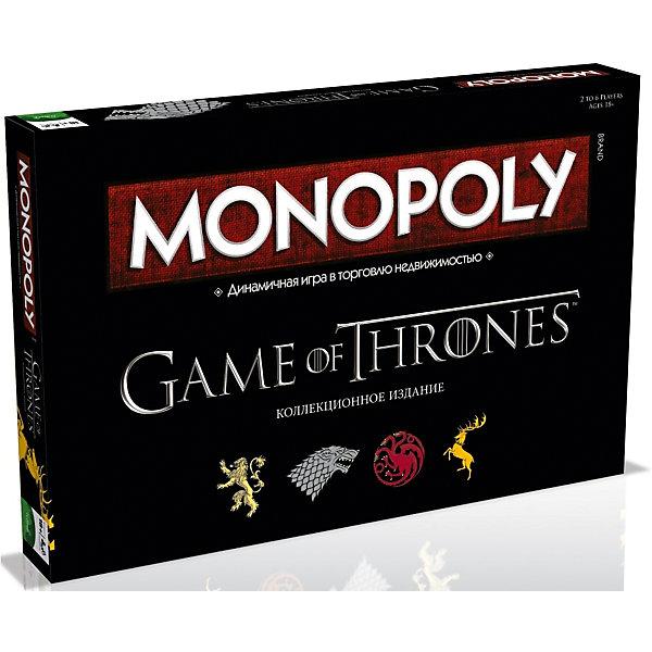 Настольная игра Монополия Игра ПрестоловЭкономические настольные игры<br>Характеристики:<br><br>• вид настольной игры: монополия;<br>• количество игроков: от 2 до 6 человек;<br>• продолжительность игры: от 60 минут;<br>• размер упаковки: 27x40x5 см.<br><br>Настольная игра «Монополия» - динамическая игра в торговлю с недвижимостью. Неизменные правила игры, азарт, логика, борьба сильнейших. Настольная игра Монополия - это игра для тех, кто способен удержать Трон.<br><br>Комплектация настольной игры Monopoly Игры Престолов: <br><br>• специальное игровое поле;<br>• 6 коллекционных фишек;<br>• 28 карточек – документов на право собственности;<br>• 16 карточек «ВАЛАР МОРГУЛИС»;<br>• 16 карточек «ЖЕЛЕЗНЫЙ ТРОН»;<br>• 32 деревни;<br>• 12 крепостей;<br>• 1 комплект специальных денег;<br>• 2 игральных кубика;<br>• правила игры.<br><br>Настольную игру Монополия Игра Престолов, можно купить в нашем интернет-магазине.<br><br>Ширина мм: 270<br>Глубина мм: 400<br>Высота мм: 50<br>Вес г: 1117<br>Возраст от месяцев: 216<br>Возраст до месяцев: 2147483647<br>Пол: Унисекс<br>Возраст: Детский<br>SKU: 5236172