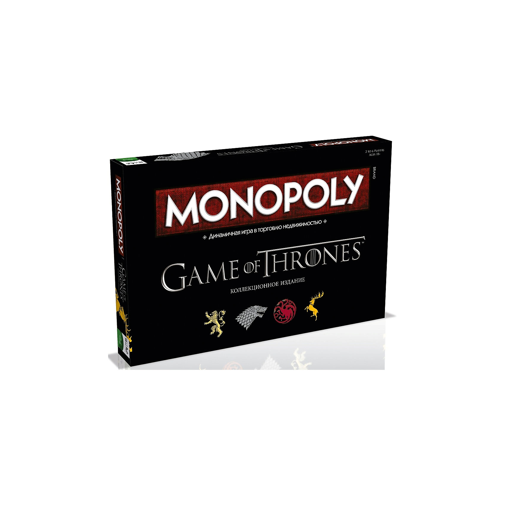 Настольная игра Монополия Игра ПрестоловИгры для развлечений<br>Характеристики:<br><br>• вид настольной игры: монополия;<br>• количество игроков: от 2 до 6 человек;<br>• продолжительность игры: от 60 минут;<br>• размер упаковки: 27x40x5 см.<br><br>Настольная игра «Монополия» - динамическая игра в торговлю с недвижимостью. Неизменные правила игры, азарт, логика, борьба сильнейших. Настольная игра Монополия - это игра для тех, кто способен удержать Трон.<br><br>Комплектация настольной игры Monopoly Игры Престолов: <br><br>• специальное игровое поле;<br>• 6 коллекционных фишек;<br>• 28 карточек – документов на право собственности;<br>• 16 карточек «ВАЛАР МОРГУЛИС»;<br>• 16 карточек «ЖЕЛЕЗНЫЙ ТРОН»;<br>• 32 деревни;<br>• 12 крепостей;<br>• 1 комплект специальных денег;<br>• 2 игральных кубика;<br>• правила игры.<br><br>Настольную игру Монополия Игра Престолов, можно купить в нашем интернет-магазине.<br><br>Ширина мм: 270<br>Глубина мм: 400<br>Высота мм: 50<br>Вес г: 1117<br>Возраст от месяцев: 216<br>Возраст до месяцев: 2147483647<br>Пол: Унисекс<br>Возраст: Детский<br>SKU: 5236172