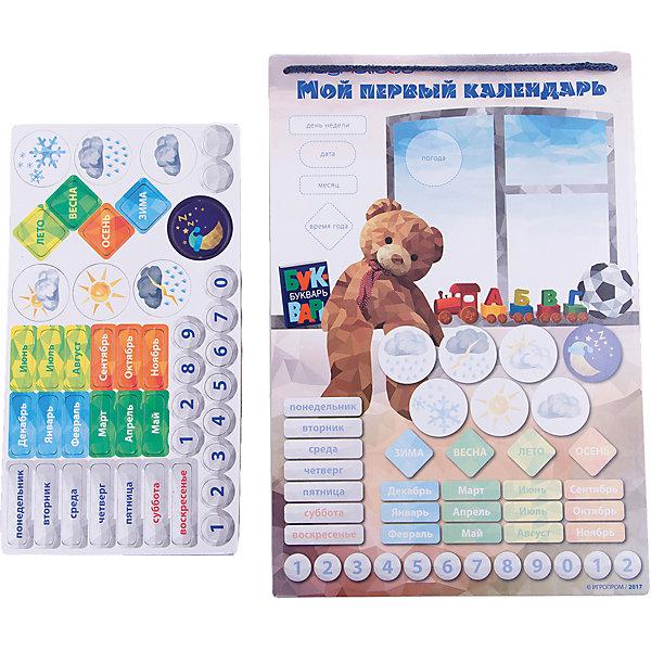 Игровой обучающий набор  Мой Первый  КалендарьНастольные игры для всей семьи<br>Характеристики:<br><br>• магнитные детали хорошо крепятся к магнитной основе;<br>• размер игрового поля: 25,5х37,5 см;<br>• материал: пластик, магнит, полимер;<br>• размер упаковки: 32х1х40 см. <br><br>Обыграть изучение времен года, дней недели и названия месяцев поможет игровой набор «Мой первый календарь». Цветное табло с магнитной основой позволяет закрепить карточки-магнитики, ориентироваться, какой сегодня день, месяц, какая погода за окном. Доска достижений поможет закрепить результат, отметить важные дела и задания, поставить перед собой цель и собирать звезды для достижения заданной цели. <br><br>Комплектация игрового набора Magneticus:<br><br>• игровое магнитное поле, <br>• карточки «времена года», 4 шт.;<br>• карточки «погода», 6 шт.;<br>• карточки «месяцы», 12 шт.;<br>• карточки «дни недели», 7 шт.;<br>• карточки «числа», от 0 до 9;<br>• правила игры.<br><br>Игровой обучающий набор Мой Первый Календарь можно купить в нашем магазине.<br>Ширина мм: 380; Глубина мм: 10; Высота мм: 260; Вес г: 350; Возраст от месяцев: 36; Возраст до месяцев: 84; Пол: Унисекс; Возраст: Детский; SKU: 5238559;