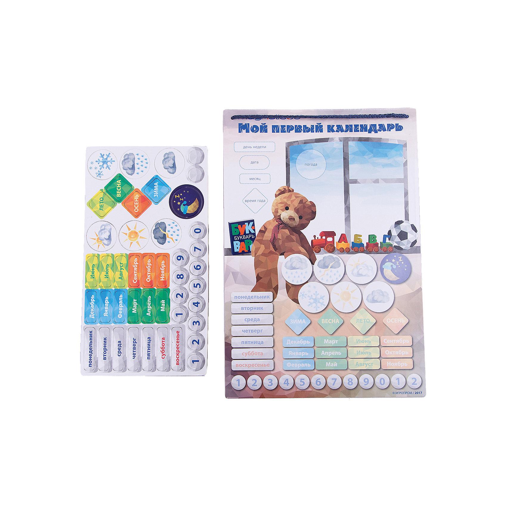 Игровой обучающий набор  Мой Первый  КалендарьРазвивающие игрушки<br>Характеристики:<br><br>• магнитные детали хорошо крепятся к магнитной основе;<br>• размер игрового поля: 25,5х37,5 см;<br>• материал: пластик, магнит, полимер;<br>• размер упаковки: 32х1х40 см. <br><br>Обыграть изучение времен года, дней недели и названия месяцев поможет игровой набор «Мой первый календарь». Цветное табло с магнитной основой позволяет закрепить карточки-магнитики, ориентироваться, какой сегодня день, месяц, какая погода за окном. Доска достижений поможет закрепить результат, отметить важные дела и задания, поставить перед собой цель и собирать звезды для достижения заданной цели. <br><br>Комплектация игрового набора Magneticus:<br><br>• игровое магнитное поле, <br>• карточки «времена года», 4 шт.;<br>• карточки «погода», 6 шт.;<br>• карточки «месяцы», 12 шт.;<br>• карточки «дни недели», 7 шт.;<br>• карточки «числа», от 0 до 9;<br>• правила игры.<br><br>Игровой обучающий набор Мой Первый Календарь можно купить в нашем магазине.<br><br>Ширина мм: 380<br>Глубина мм: 10<br>Высота мм: 260<br>Вес г: 350<br>Возраст от месяцев: 36<br>Возраст до месяцев: 84<br>Пол: Унисекс<br>Возраст: Детский<br>SKU: 5238559