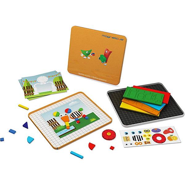 Магнитная мозаика ЗоопаркМозаика<br>Магнитная мозаика Зоопарк.<br><br>Характеристика:<br><br>• Материал: полимер, пластик, металл.<br>• Размер упаковки: 31х19х2 см. <br>• Комплектация: 25 магнитных элемента; металлическая коробка - 1 шт; набор фигурных элементов из ЭВА; вращающиеся элементы - 3 шт; двусторонняя инструкция с сюжетами - 2 шт; инструкция с вариантами сборки мозаики - 1 шт; набор тематических наклеек - 1 шт.<br>• Яркий привлекательный дизайн. <br>• Развивает внимание, усидчивость, моторику рук, фантазию.<br><br>С этим замечательным набором ваш малыш сможет собрать свой собственный мини-зоопарк. Милые животные, сделанные своими руками, обязательно порадуют кроху, а подвижные элементы сделают игру еще увлекательнее. Все детали набора изготовлены из экологичных нетоксичных материалов безопасных для детей.<br>Собирая мозаику, малыши тренируют внимание, моторику рук, цветовосприятие, развивают фантазию и умение работать по инструкции.<br><br>Магнитную мозаику Зоопарк можно купить в нашем интернет-магазине.<br><br>Ширина мм: 200<br>Глубина мм: 25<br>Высота мм: 215<br>Вес г: 350<br>Возраст от месяцев: 36<br>Возраст до месяцев: 84<br>Пол: Унисекс<br>Возраст: Детский<br>SKU: 5238560