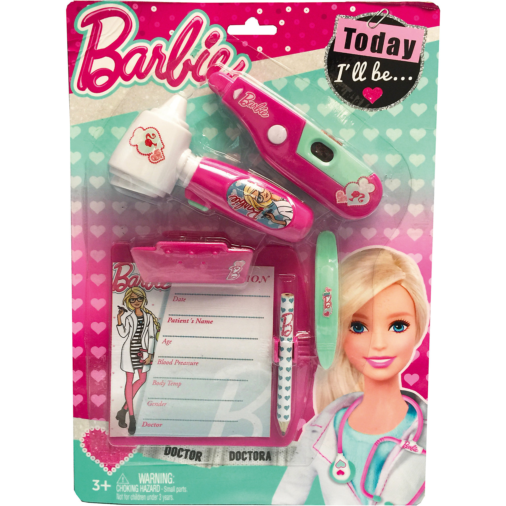 Игровой набор юного доктора на блистере, BarbieСюжетно-ролевые игры<br>Игровой набор юного доктора на блистере, Barbie (Барби).<br><br>Характеристики:<br><br>• Материал: пластик. <br>• Размер упаковки: 30х21х4 см.<br>• Комплектация: градусник – 1 шт. ; отоскоп – 1 шт; планшет для записей с карандашом – 1 шт.; заколочка – 1 шт.<br>• Звуковые, эффекты. <br>• Отличная детализация. <br>• Элемент питания: в градусник - 2 батарейки AG10, (входят в комплект); в отоскоп - 2 батарейки AG10, (входят в комплект).<br>• Яркий привлекательный дизайн.<br><br>С этим ярким набором врача ваша девочка почувствует себя самым настоящим доктором. Все аксессуары отлично детализированы и хорошо проработаны, очень похожи на медицинские инструменты. Игрушки изготовлены из экологичного пластика, в производстве которого использованы только безопасные нетоксичные красители.<br><br>Игровой набор юного доктора на блистере, Barbie (Барби), можно купить в нашем интернет-магазине.<br><br>Ширина мм: 210<br>Глубина мм: 300<br>Высота мм: 450<br>Вес г: 163<br>Возраст от месяцев: 36<br>Возраст до месяцев: 2147483647<br>Пол: Женский<br>Возраст: Детский<br>SKU: 5238930