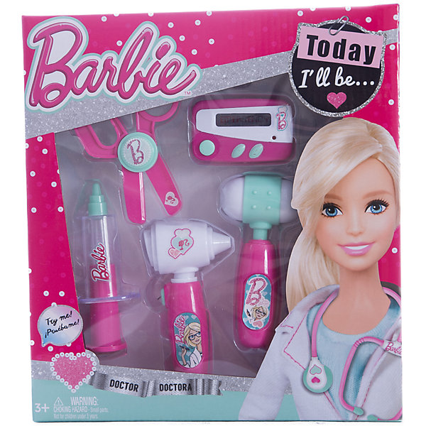 Игровой набор юного доктора компактный, BarbieНаборы доктора и ветеринара<br>Игровой набор юного доктора на блистере, Barbie (Барби).<br><br>Характеристики:<br><br>• Материал: пластик. <br>• Размер упаковки: 28х4х25 см. см.<br>• Комплектация: неврологический молоточек; шприц;<br>ножницы; электронный пейджер; отоскоп - прибор для обследования ушей.<br>• Звуковые и световые эффекты. <br>• Отличная детализация. <br>• Элемент питания: для пейджера - 2 батарейки типа AG13 (в комплекте); для отоскопа - 2 батарейки типа AG10 (в комплекте). <br>• Яркий привлекательный дизайн.<br><br>С этим ярким набором врача ваша девочка почувствует себя самым настоящим доктором. Все аксессуары отлично детализированы и хорошо проработаны, очень похожи на медицинские инструменты. Игрушки изготовлены из экологичного пластика, в производстве которого использованы только безопасные нетоксичные красители.<br><br>Игровой набор юного доктора на блистере, Barbie (Барби), можно купить в нашем интернет-магазине.<br><br>Ширина мм: 260<br>Глубина мм: 280<br>Высота мм: 400<br>Вес г: 332<br>Возраст от месяцев: 36<br>Возраст до месяцев: 2147483647<br>Пол: Женский<br>Возраст: Детский<br>SKU: 5238933
