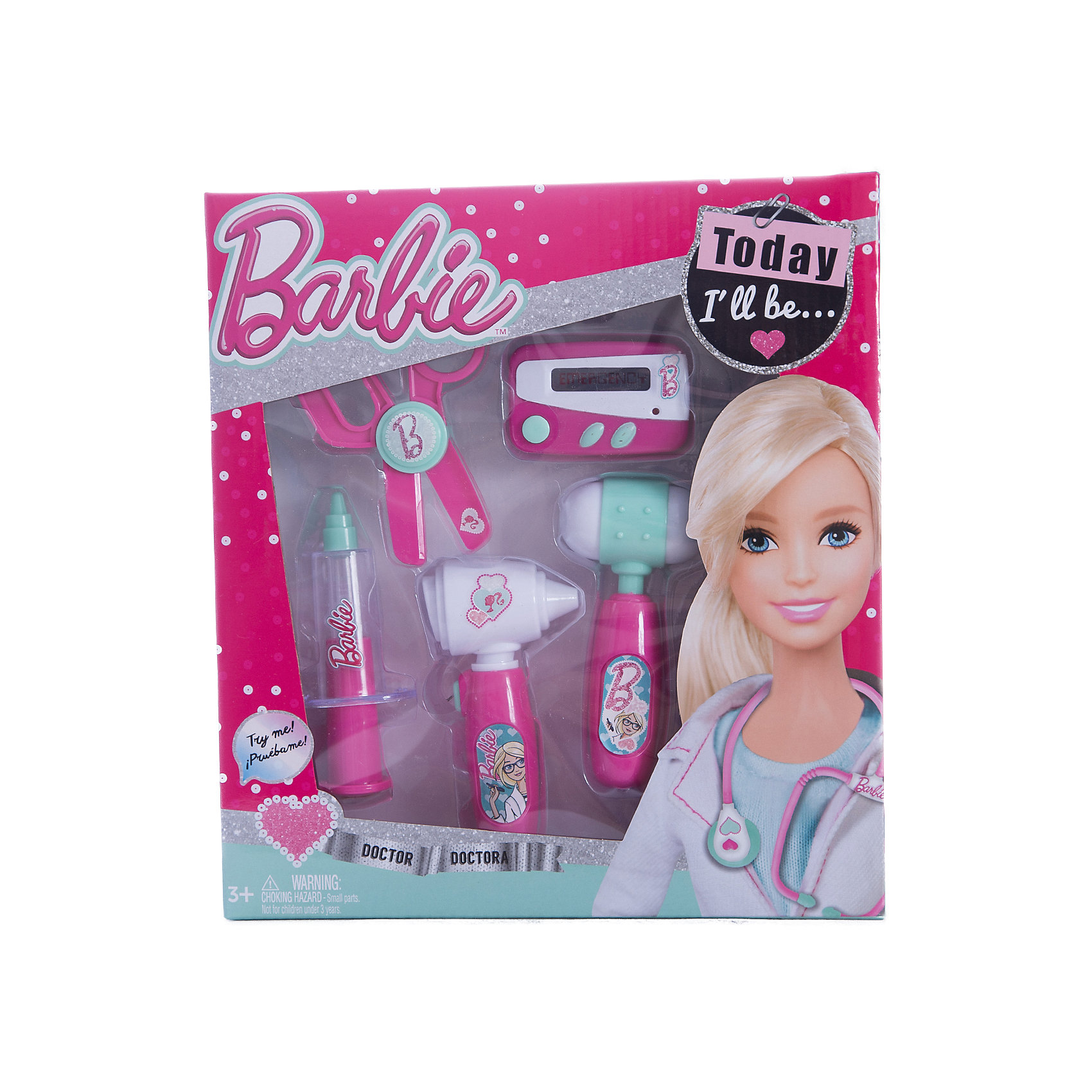 Игровой набор юного доктора компактный, BarbieИгровой набор юного доктора на блистере, Barbie (Барби).<br><br>Характеристики:<br><br>• Материал: пластик. <br>• Размер упаковки: 28х4х25 см. см.<br>• Комплектация: неврологический молоточек; шприц;<br>ножницы; электронный пейджер; отоскоп - прибор для обследования ушей.<br>• Звуковые и световые эффекты. <br>• Отличная детализация. <br>• Элемент питания: для пейджера - 2 батарейки типа AG13 (в комплекте); для отоскопа - 2 батарейки типа AG10 (в комплекте). <br>• Яркий привлекательный дизайн.<br><br>С этим ярким набором врача ваша девочка почувствует себя самым настоящим доктором. Все аксессуары отлично детализированы и хорошо проработаны, очень похожи на медицинские инструменты. Игрушки изготовлены из экологичного пластика, в производстве которого использованы только безопасные нетоксичные красители.<br><br>Игровой набор юного доктора на блистере, Barbie (Барби), можно купить в нашем интернет-магазине.<br><br>Ширина мм: 260<br>Глубина мм: 280<br>Высота мм: 400<br>Вес г: 332<br>Возраст от месяцев: 36<br>Возраст до месяцев: 2147483647<br>Пол: Женский<br>Возраст: Детский<br>SKU: 5238933
