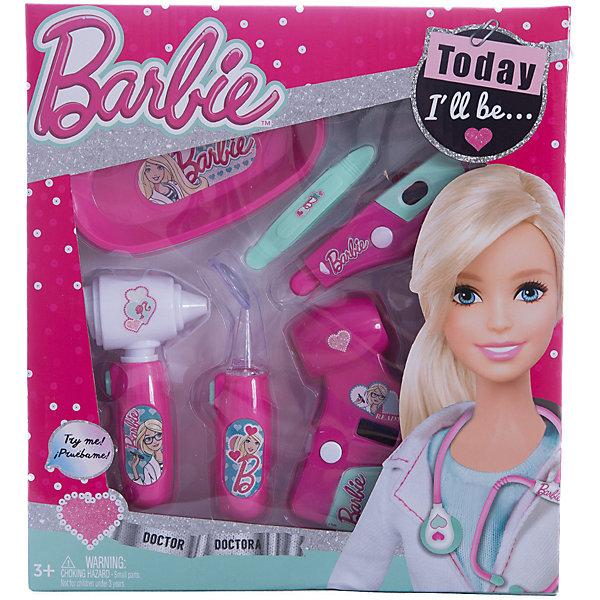 Игровой набор юного доктора компактный, BarbieНаборы доктора и ветеринара<br>Характеристики игрового набора юного доктора:<br><br>• оформление набора в стиле Барби;<br>• звуковые эффекты;<br>• батарейки в комплекте;<br>• материал: пластик;<br>• размер упаковки: 25,5х4х28 см.<br><br>Игра в доктора является неотъемлемой частью детского досуга. Девочки вооружаются игрушечными шприцами, градусниками и стетоскопами и «лечат» всех своих пациентов. Детали игрового набора Barbie изготовлены из нетоксичного гипоаллергенного пластика. Набор оформлен в стиле куклы Барби. <br><br>Комплектация игрового набора:<br><br>• электронный отоскоп;<br>• электронный пейджер;<br>• неврологический молоточек;<br>• шприц;<br>• ножницы;<br>• батарейки: 2xAG13/LR44 (миниатюрные) + 2хAG10;<br>• картонная упаковка с прозрачным окошком;<br>• инструкция.<br><br>Игровой набор юного доктора компактный, Barbie можно купить в нашем магазине.<br>Ширина мм: 260; Глубина мм: 280; Высота мм: 400; Вес г: 351; Возраст от месяцев: 36; Возраст до месяцев: 2147483647; Пол: Женский; Возраст: Детский; SKU: 5238935;