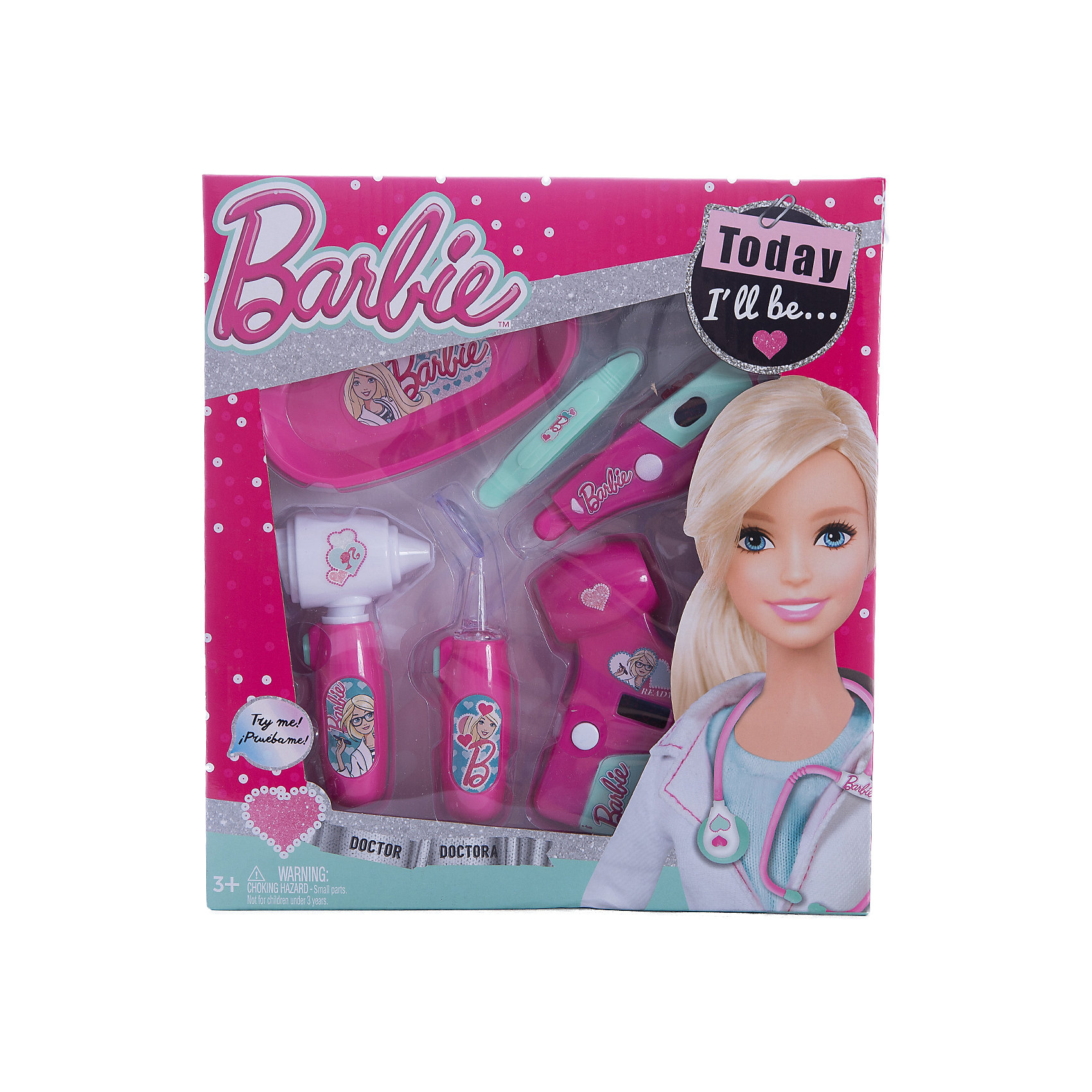 Игровой набор юного доктора компактный, BarbieХарактеристики игрового набора юного доктора:<br><br>• оформление набора в стиле Барби;<br>• звуковые эффекты;<br>• батарейки в комплекте;<br>• материал: пластик;<br>• размер упаковки: 25,5х4х28 см.<br><br>Игра в доктора является неотъемлемой частью детского досуга. Девочки вооружаются игрушечными шприцами, градусниками и стетоскопами и «лечат» всех своих пациентов. Детали игрового набора Barbie изготовлены из нетоксичного гипоаллергенного пластика. Набор оформлен в стиле куклы Барби. <br><br>Комплектация игрового набора:<br><br>• электронный отоскоп;<br>• электронный пейджер;<br>• неврологический молоточек;<br>• шприц;<br>• ножницы;<br>• батарейки: 2xAG13/LR44 (миниатюрные) + 2хAG10;<br>• картонная упаковка с прозрачным окошком;<br>• инструкция.<br><br>Игровой набор юного доктора компактный, Barbie можно купить в нашем магазине.<br><br>Ширина мм: 260<br>Глубина мм: 280<br>Высота мм: 400<br>Вес г: 351<br>Возраст от месяцев: 36<br>Возраст до месяцев: 2147483647<br>Пол: Женский<br>Возраст: Детский<br>SKU: 5238935