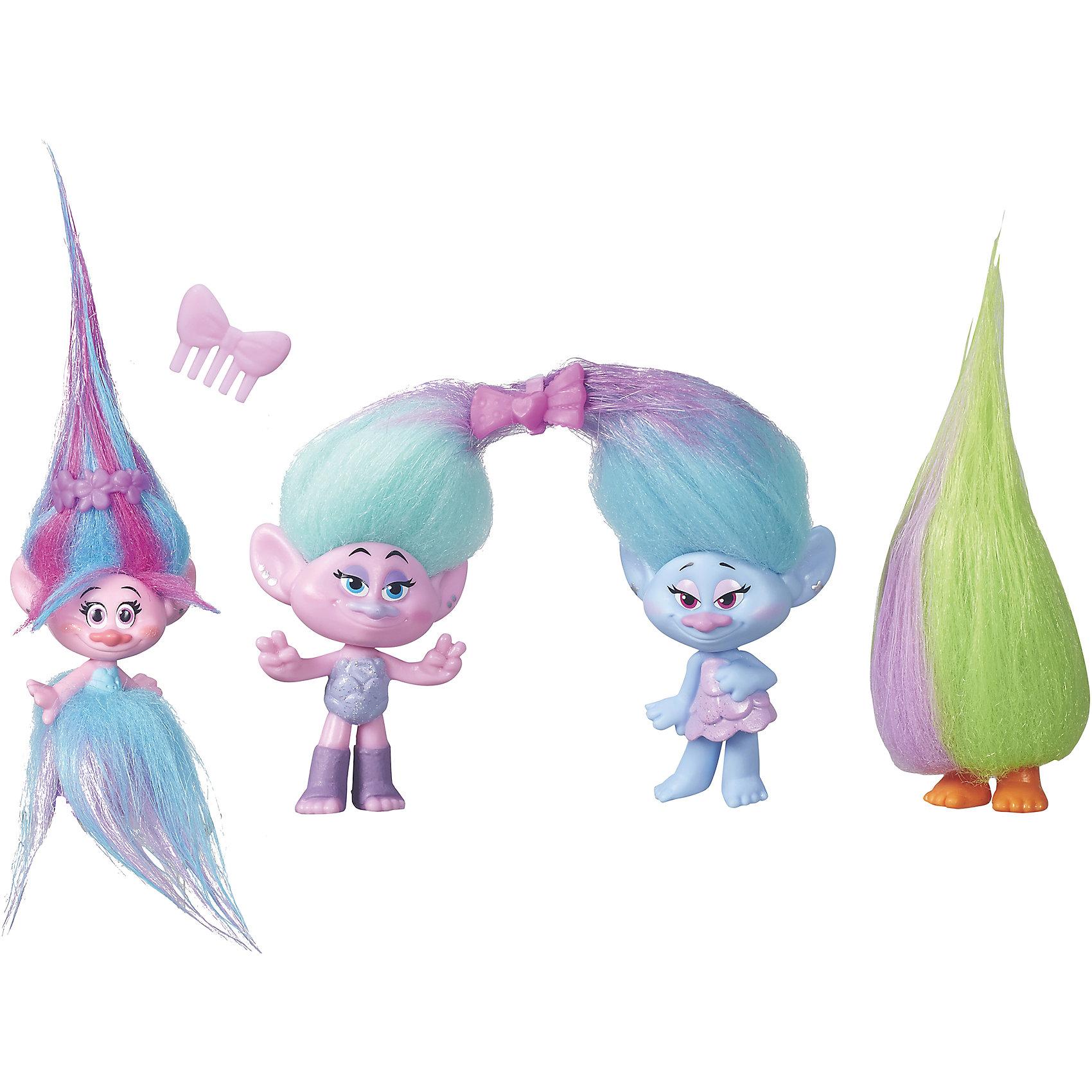 Игровой набор Модное безумие -4 героя, ТроллиТролли Игрушки<br>Игровой набор Модное безумие от торговой марки Hasbro включает в себя 4 фигурки, изображающие персонажей известного мультфильма Тролли, вышедшего на широкий экран совсем недавно и уже успевшего завоевать популярность по всему миру.<br><br>Серия Poppy Fashion Frenzy от Хасбро предлагает ребенку не только использовать фигурки Trolls в игре, но и менять их образ при помощи аксессуаров, входящих в комплект. Расчесывать же яркие длинные волосы троллей ребенок сможет, используя гребешок, также имеющийся в комплекте<br><br>Комплект: 4 фигурки троллей, гребешок.<br>Из чего сделана игрушка (состав): пластик, текстиль.<br>Размер упаковки: 28 х 20 х 4.5 см.<br>Упаковка: блистер на картоне.<br>Высота фигурки: 10 см.<br><br>Ширина мм: 44<br>Глубина мм: 279<br>Высота мм: 203<br>Вес г: 122<br>Цвет: фиолетово-розовый<br>Возраст от месяцев: 48<br>Возраст до месяцев: 192<br>Пол: Унисекс<br>Возраст: Детский<br>SKU: 5245126