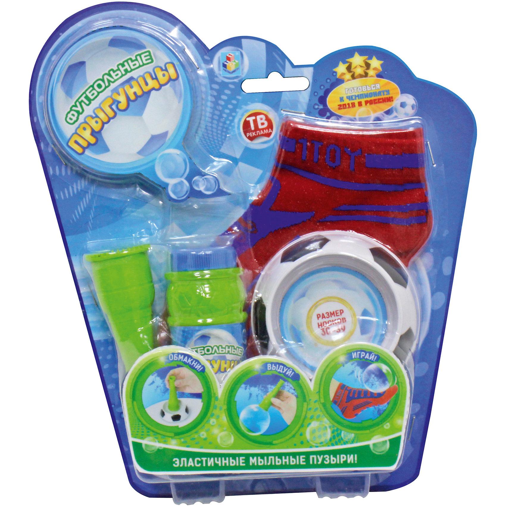 Эластичные мыльные пузыри Футбольные Прыгунцы + 2 носка р-р 30-39 и раствор, 1toyАктивные игры<br>Футбольные мыльные Прыгунцы - эластичные пузыри, с которыми весело играть и чеканить ногой как настоящим футбольным мячом! <br>Благодаря волшебной мыльной жидкости и носкам мыльные пузыри не лопаются от прикосновения. Играть Мыльными Прыгунцами можно как дома, так и на улице в безветренную погоду!<br><br>Ширина мм: 260<br>Глубина мм: 45<br>Высота мм: 240<br>Вес г: 225<br>Возраст от месяцев: 36<br>Возраст до месяцев: 144<br>Пол: Унисекс<br>Возраст: Детский<br>SKU: 5245322