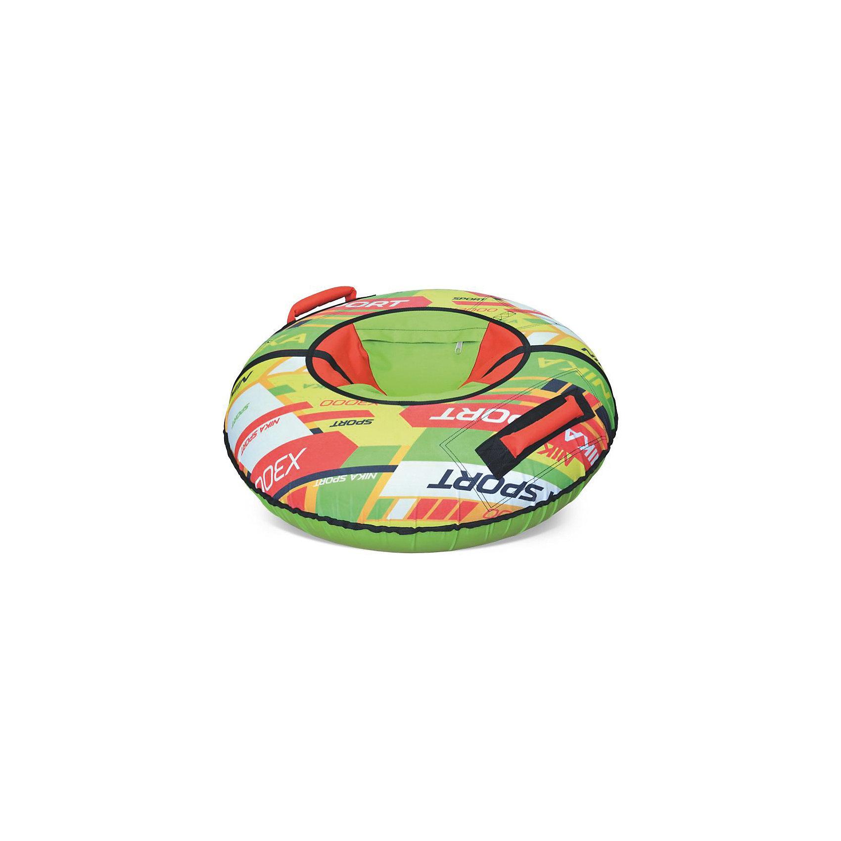 Тюбинг Nika Sport, зеленый, НикаТюбинги<br>Тюбинг Nika Sport, зеленый, Ника - красочный тюбинг из принтованной ткани, который подарит вам незабываемые впечатления от зимней прогулки. Водонепроницаемая ткань из которой изготовлена верхняя часть изделия, создаст дополнительное сопротивление и не позволит выскользнуть из тюбинга. А благодаря высококачественной тентовой ПВХ ткани с глянцевой поверхностью, из которой исполнено дно этой модели достигается идеальное скольжение. Усиленная камера входит в комплекте<br> <br>• Верх ПВХ 500Д гр/кв.м с красочным рисунком<br> • Усиленное дно автотент 850 гр/кв.м<br> • Диаметр тюбинга в надутом состоянии 950мм<br> • Диаметр тюбинга в сдутом состоянии 1050мм<br> • Устойчивый к морозам материал (до -25-28 С)<br> • Все швы усилены капроновой лентой<br> • Буксировочный ремень<br> • Эргономичные усиленные ручки<br> • Защитный внутренний клапан с потайной молнией<br> • Усиленная камера в комплекте<br> • Максимальная нагрузка 100 кг<br> • Рекомендуемый возраст от 12 лет<br> • В упаковке-1шт. <br><br>Тюбинг Nika Sport, зеленый, Ника можно купить в нашем интернет-магазине.<br><br>Ширина мм: 300<br>Глубина мм: 300<br>Высота мм: 30<br>Вес г: 2000<br>Возраст от месяцев: 36<br>Возраст до месяцев: 144<br>Пол: Унисекс<br>Возраст: Детский<br>SKU: 5248184