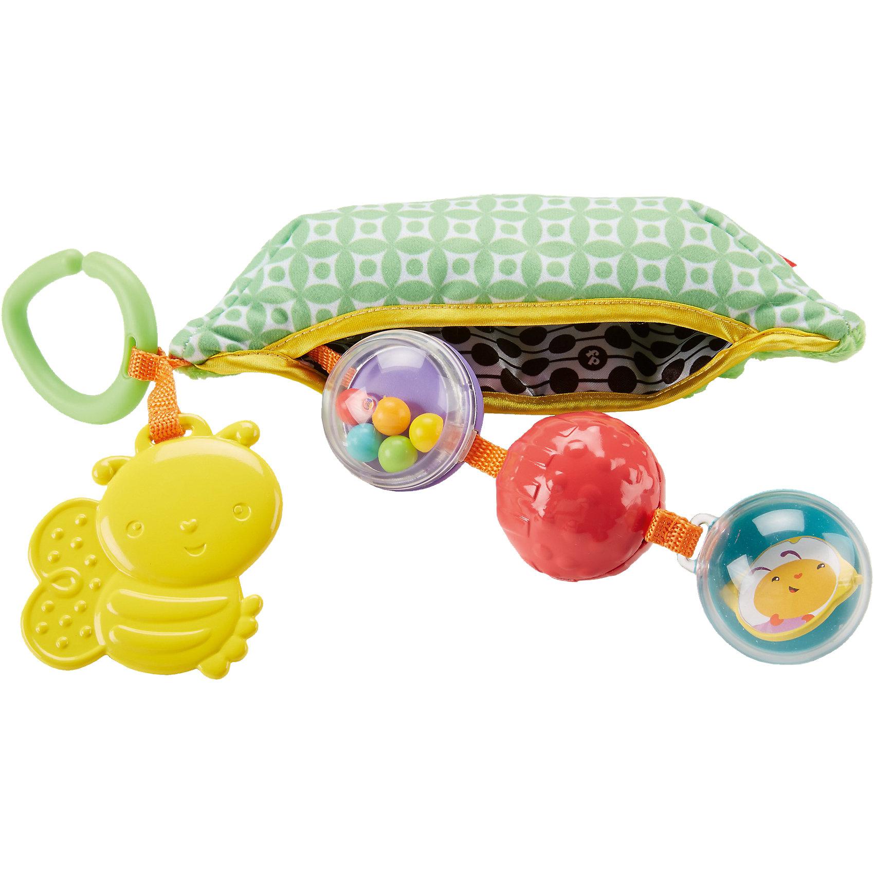 Плюшевая игрушка-погремушка Горошек, Fisher PriceПогремушки<br>Плюшевая игрушка-погремушка Горошек, Fisher Price (Фишер Прайс)<br><br>Характеристики:<br><br>• мягкий стручок горошка с игрушками внутри<br>• внутренняя часть игрушки состоит из погремушки, рельефного шарика, безопасного зеркала и прорезывателя<br>• есть крапление для коляски<br>• не содержит бисфенол А<br>• материал: пластик, текстиль<br>• длина стручка: 21 см<br>• размер упаковки: 25х10х7 см<br>• вес: 160 грамм<br><br>Горошек - универсальная игрушка, помогающая в развитии мелкой моторики, координации, тактильного и звукового восприятия малыша. Мягкая внешняя сторона выполнена в форме стручка зеленого горошка. Внутри него находятся три шарика: погремушка, рельефный шар и зеркальце. Малыш познакомится с разными формами и звуками. В комплект входит пчелка-прорезыватель. Она поможет уменьшить неприятные ощущения крохи в период прорезывания зубов. Пластиковый карабин позволяет прикрепить горошек к коляске или сумке, чтобы занимательная игрушка всегда была рядом с малышом. Веселый горошек подарит малышу много радостных моментов!<br><br>Плюшевую игрушку-погремушку Горошек, Fisher Price (Фишер Прайс) вы можете купить в нашем интернет-магазине.<br><br>Ширина мм: 221<br>Глубина мм: 129<br>Высота мм: 88<br>Вес г: 159<br>Возраст от месяцев: 6<br>Возраст до месяцев: 24<br>Пол: Унисекс<br>Возраст: Детский<br>SKU: 5248393