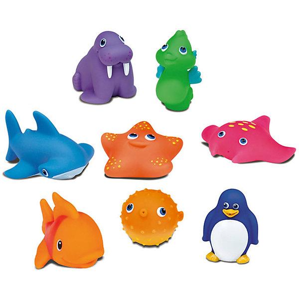 Игрушки для ванны Морские животные, с 9 мес., MunchkinИгрушки для ванной<br>Игрушки для ванной Munchkin (Манчкин) Морские животные непременно понравится вашему ребенку и превратит купание в веселую игру! Набор включает в себя 8 игрушек. Яркие игрушки выполнены из мягкого безопасного материала и приятны на ощупь. Если сначала набрать воду в игрушки, а потом нажать на них, то изо рта брызнет тонкая струя воды, что, несомненно, развеселит вашего малыша. Игрушки для ванной Морские животные способствует развитию воображения, цветового восприятия, тактильных ощущений и мелкой моторики рук.<br><br>Дополнительная информация:<br><br>- В комплекте: 8 игрушек-брызгалок<br>- Материал: ПВХ (поливинилхлорид)<br>- Размер упаковки: 7 х 16 х 18 см.<br>- Не содержит бисфенол А<br><br>Игрушки для ванной Морские животные, Munchkin (Манчкин) можно купить в нашем интернет-магазине.<br>Ширина мм: 90; Глубина мм: 90; Высота мм: 280; Вес г: 200; Возраст от месяцев: 9; Возраст до месяцев: 36; Пол: Унисекс; Возраст: Детский; SKU: 5251532;
