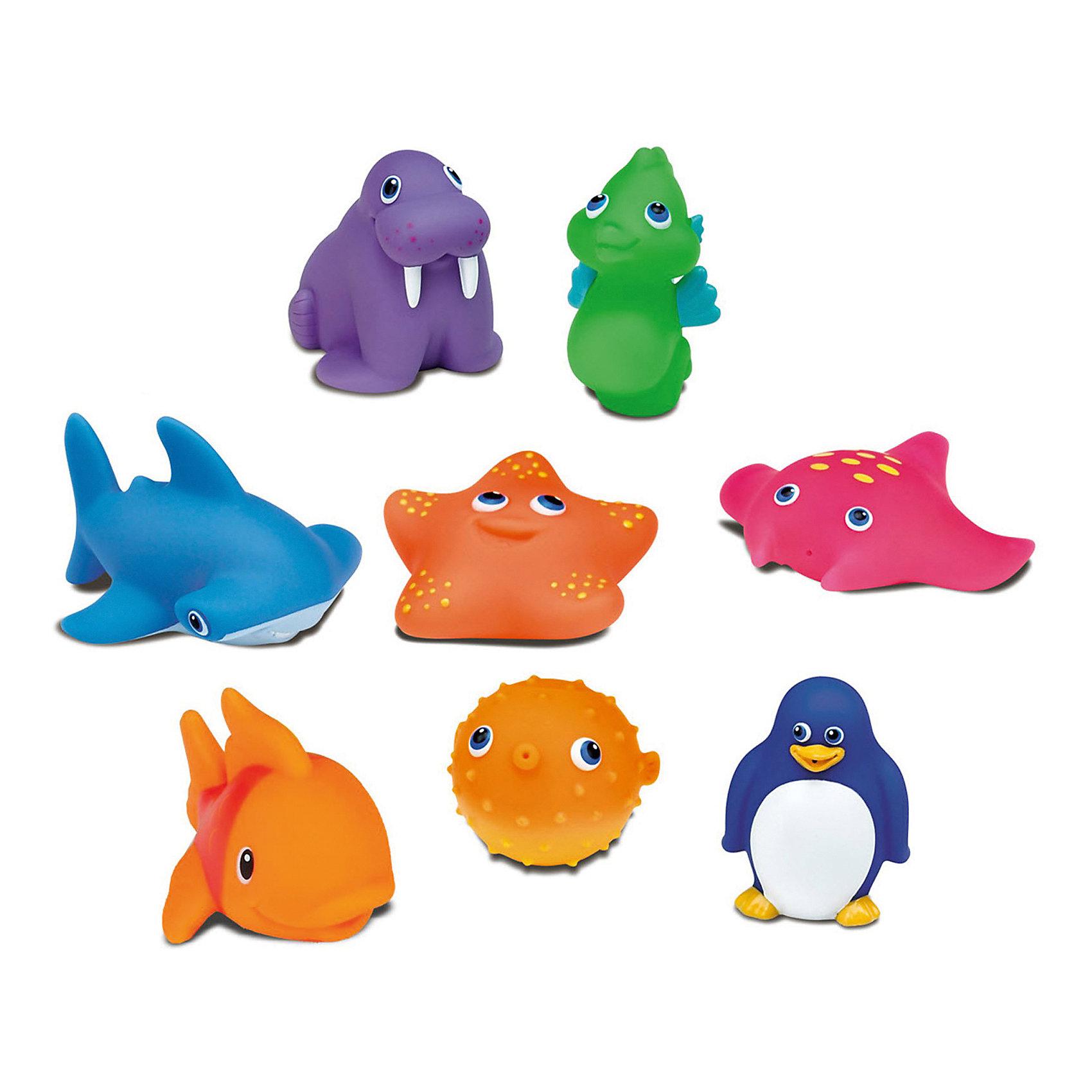 Игрушки для ванны Морские животные, с 9 мес., MunchkinИгрушки для ванны<br>Игрушки для ванной Munchkin (Манчкин) Морские животные непременно понравится вашему ребенку и превратит купание в веселую игру! Набор включает в себя 8 игрушек. Яркие игрушки выполнены из мягкого безопасного материала и приятны на ощупь. Если сначала набрать воду в игрушки, а потом нажать на них, то изо рта брызнет тонкая струя воды, что, несомненно, развеселит вашего малыша. Игрушки для ванной Морские животные способствует развитию воображения, цветового восприятия, тактильных ощущений и мелкой моторики рук.<br><br>Дополнительная информация:<br><br>- В комплекте: 8 игрушек-брызгалок<br>- Материал: ПВХ (поливинилхлорид)<br>- Размер упаковки: 7 х 16 х 18 см.<br>- Не содержит бисфенол А<br><br>Игрушки для ванной Морские животные, Munchkin (Манчкин) можно купить в нашем интернет-магазине.<br><br>Ширина мм: 90<br>Глубина мм: 90<br>Высота мм: 280<br>Вес г: 200<br>Возраст от месяцев: 9<br>Возраст до месяцев: 36<br>Пол: Унисекс<br>Возраст: Детский<br>SKU: 5251532