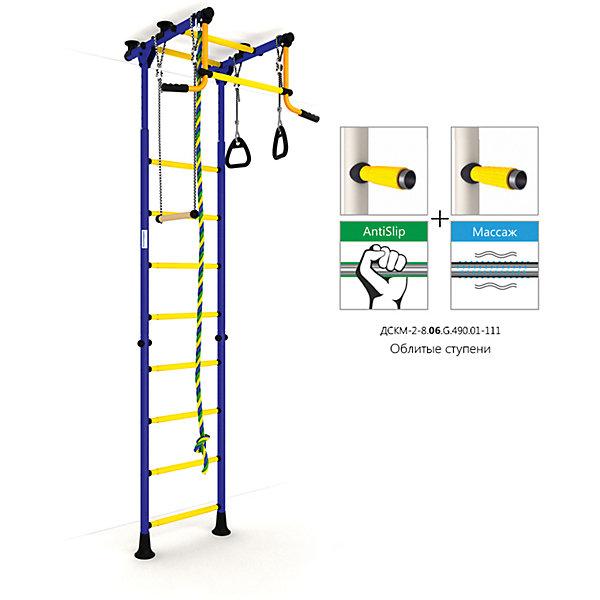 Шведская лестница Комета-2, синий-желтыйШведские стенки<br>Шведская стенка с креплениями в распор (между полом и потолком) - одна из самых популярных моделей. Благодаря креплению, не требующему сверления поверхностей, домашний спортивный комплекс быстро устанавливается и позволяет легко менять место установки в комнате. В комплекте: лестница гимнастическая, турник неподвижный, кольца гимнастические, трапеция, канат.<br>Ширина мм: 1160; Глубина мм: 535; Высота мм: 140; Вес г: 27000; Возраст от месяцев: 36; Возраст до месяцев: 192; Пол: Унисекс; Возраст: Детский; SKU: 5251537;