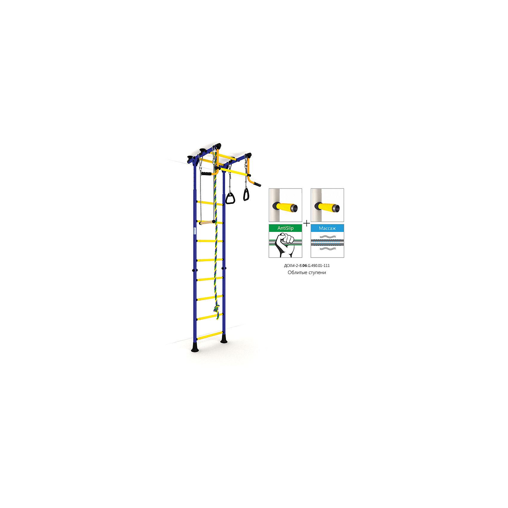 Шведская лестница Комета-2, синий-желтыйШведская стенка с креплениями в распор (между полом и потолком) - одна из самых популярных моделей. Благодаря креплению, не требующему сверления поверхностей, домашний спортивный комплекс быстро устанавливается и позволяет легко менять место установки в комнате. В комплекте: лестница гимнастическая, турник неподвижный, кольца гимнастические, трапеция, канат.<br><br>Ширина мм: 1160<br>Глубина мм: 535<br>Высота мм: 140<br>Вес г: 18000<br>Возраст от месяцев: 36<br>Возраст до месяцев: 192<br>Пол: Унисекс<br>Возраст: Детский<br>SKU: 5251537