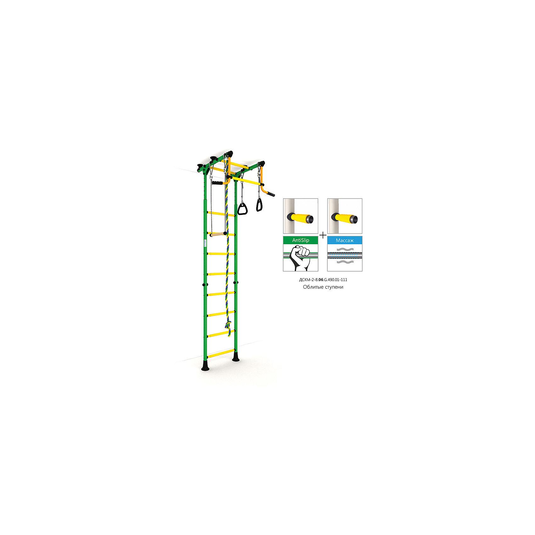 Шведская лестница Комета-2, зеленый-желтыйШведские стенки<br>Шведская стенка с креплениями в распор (между полом и потолком) - одна из самых популярных моделей. Благодаря креплению, не требующему сверления поверхностей, домашний спортивный комплекс быстро устанавливается и позволяет легко менять место установки в комнате. В комплекте: лестница гимнастическая, турник неподвижный, кольца гимнастические, трапеция, канат.<br><br>Ширина мм: 1160<br>Глубина мм: 535<br>Высота мм: 140<br>Вес г: 27000<br>Возраст от месяцев: 36<br>Возраст до месяцев: 192<br>Пол: Унисекс<br>Возраст: Детский<br>SKU: 5251538