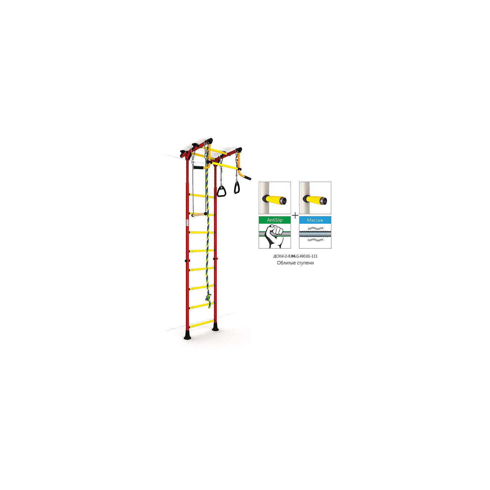 Шведская лестница Комета-2, красный-желтыйШведские стенки<br>Шведская стенка с креплениями в распор (между полом и потолком) - одна из самых популярных моделей. Благодаря креплению, не требующему сверления поверхностей, домашний спортивный комплекс быстро устанавливается и позволяет легко менять место установки в комнате. В комплекте: лестница гимнастическая, турник неподвижный, кольца гимнастические, трапеция, канат.<br><br>Ширина мм: 1160<br>Глубина мм: 535<br>Высота мм: 140<br>Вес г: 27000<br>Возраст от месяцев: 36<br>Возраст до месяцев: 192<br>Пол: Унисекс<br>Возраст: Детский<br>SKU: 5251539