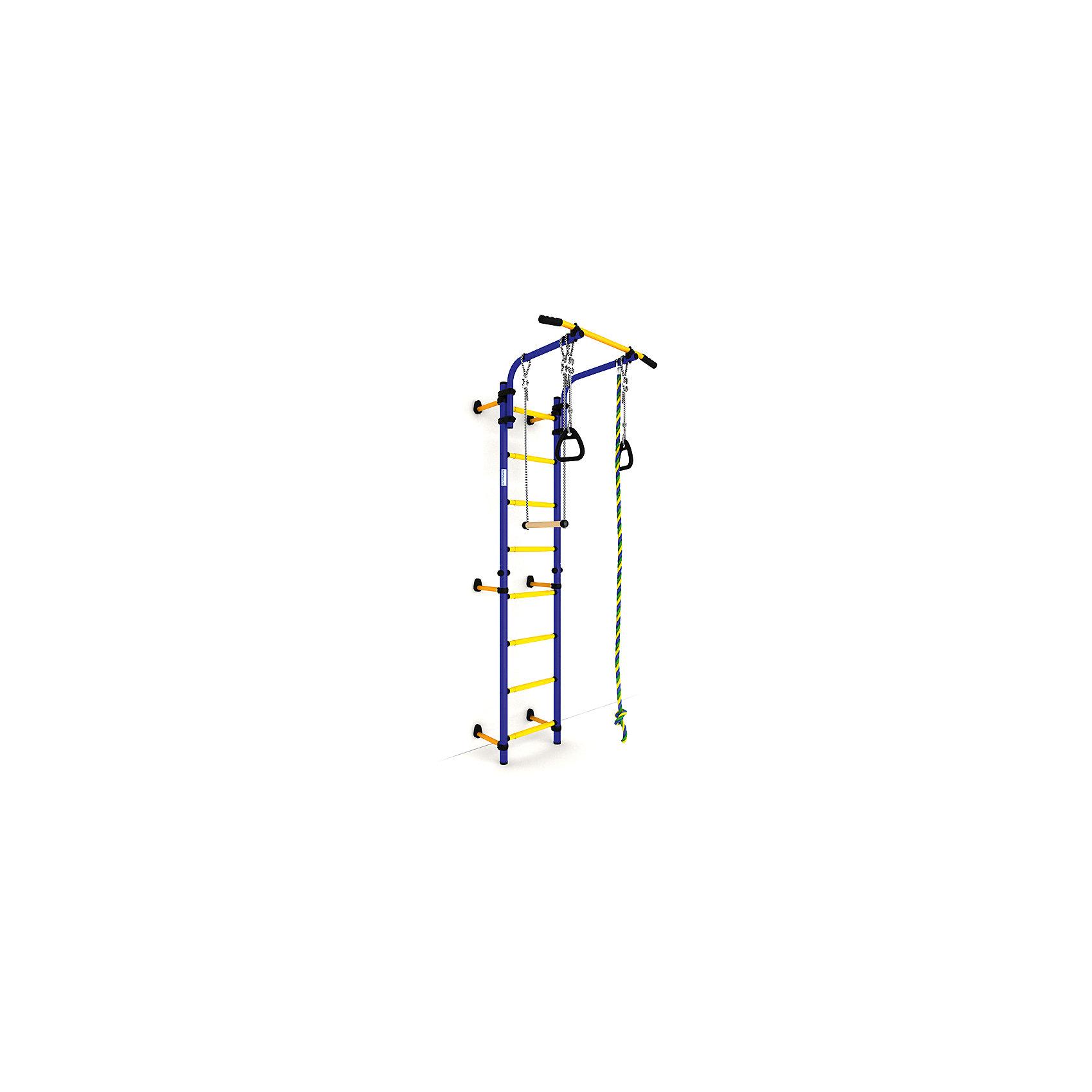 Шведская лестница NEXT-1 (410 мм), синий-желтыйШведские стенки<br>Шведская стенка с креплениями к стене Комета NEXT 1 - самый популярный домашний спортивный комплекс. Турник, регулируемый по длине лестницы, позволяет делать упражнения на комфортной для пользователя высоте.<br><br>Ширина мм: 1160<br>Глубина мм: 535<br>Высота мм: 140<br>Вес г: 23000<br>Возраст от месяцев: 36<br>Возраст до месяцев: 192<br>Пол: Унисекс<br>Возраст: Детский<br>SKU: 5251540