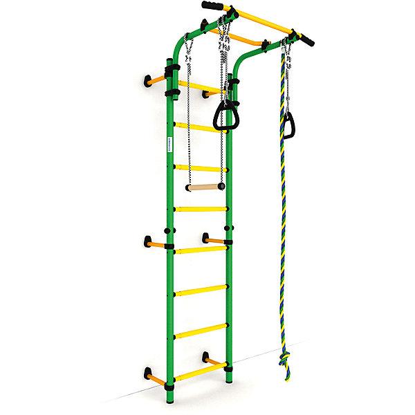 Шведская лестница Комета NEXT-1 (410 мм), зеленый-желтыйШведские стенки<br>Шведская стенка с креплениями к стене Комета NEXT 1 - самый популярный домашний спортивный комплекс. Турник, регулируемый по длине лестницы, позволяет делать упражнения на комфортной для пользователя высоте.<br><br>Ширина мм: 1160<br>Глубина мм: 535<br>Высота мм: 140<br>Вес г: 23000<br>Возраст от месяцев: 36<br>Возраст до месяцев: 192<br>Пол: Унисекс<br>Возраст: Детский<br>SKU: 5251541