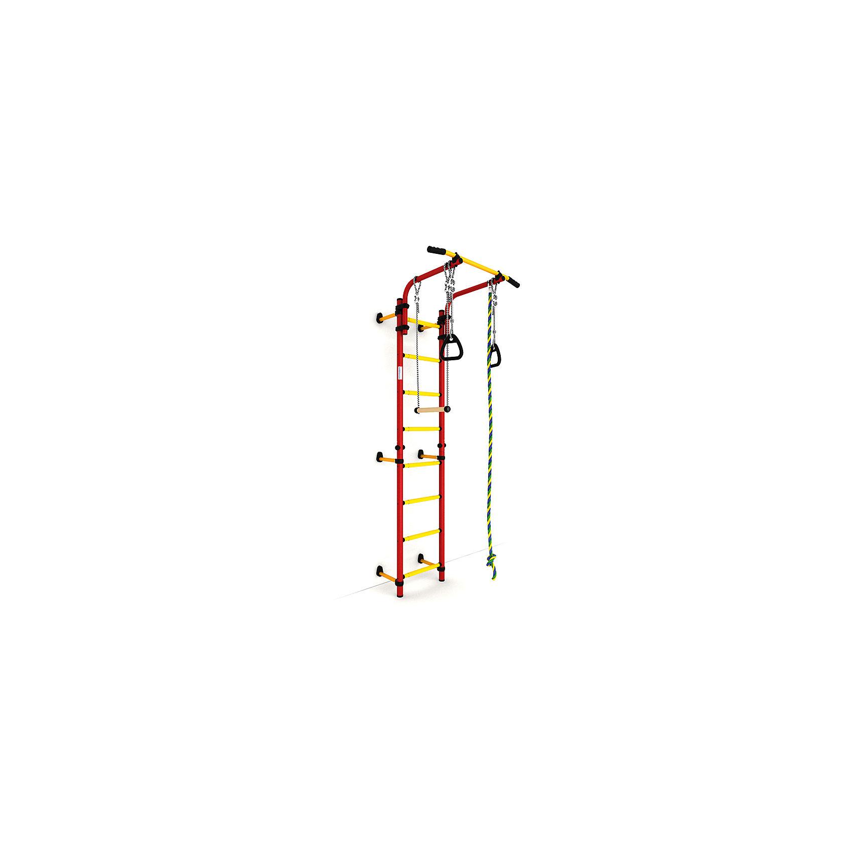 Шведская лестница Комета NEXT-1 (410 мм), красный-желтыйШведские стенки<br>Шведская стенка с креплениями к стене Комета NEXT 1 - самый популярный домашний спортивный комплекс. Турник, регулируемый по длине лестницы, позволяет делать упражнения на комфортной для пользователя высоте.<br><br>Ширина мм: 1160<br>Глубина мм: 535<br>Высота мм: 140<br>Вес г: 23000<br>Возраст от месяцев: 36<br>Возраст до месяцев: 192<br>Пол: Унисекс<br>Возраст: Детский<br>SKU: 5251542