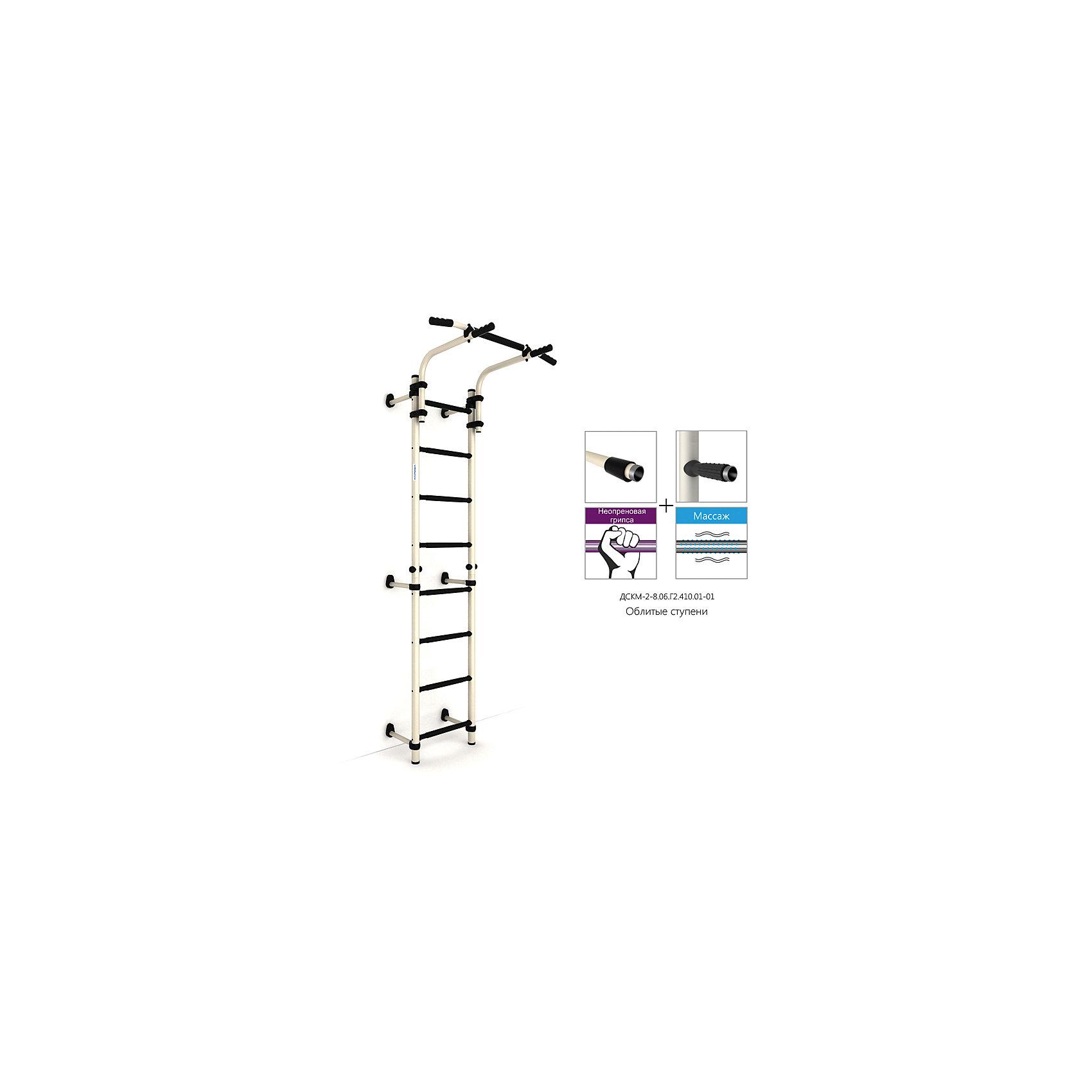 Шведская лестница S8 (410 мм), белый антик золото/черныйШведские стенки<br>Шведская стенка с креплениями к стене. Разработана в строгих цветовых тонах - специально для подростков и их родителей. Ручки турника расположены в двух направлениях для нагрузки на разные группы мышц. Рама перемещается по всей длине стоек, при этом не требует разборки или переустановки самого комплекса. Можно дополнить шведскую стенку брусьями, стойкой для штанги и скамьёй откидной. В комплекте: лестница гимнастическая, турник подвижный. Высота: 2270 мм. Допустимая нагрузка: 100 кг.<br><br>Ширина мм: 1160<br>Глубина мм: 535<br>Высота мм: 140<br>Вес г: 21000<br>Возраст от месяцев: 36<br>Возраст до месяцев: 192<br>Пол: Унисекс<br>Возраст: Детский<br>SKU: 5251544