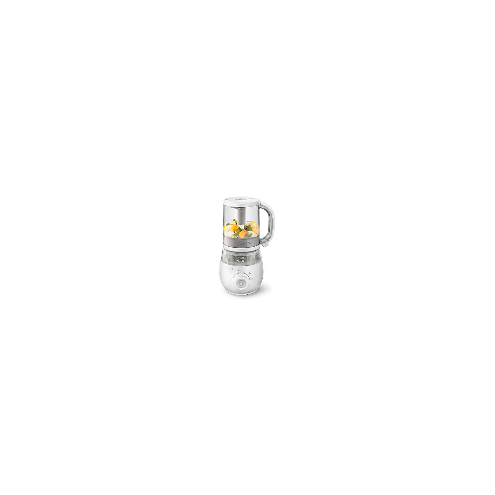 Пароварка-блендер 4-в-1, Philips Avent (SCF875/02)Пароварка-блендер 4-в-1, Philips Avent (SCF875/02).<br><br>Характеристика:<br><br>• Материал: металл, пластик.  <br>• Размер: 16x33x18 см<br>• Размер упаковки: 35x23x18 см<br>• 4 функции: приготовление на пару, измельчение, подогрев и разморозка.<br>• Объем кувшина: 1000 мл. <br>• Можно приготовить 4 порции за один раз. <br>• Легкая очистка.<br>• Кувшин, контейнер, лопатку и нож можно мыть в посудомоечной машине. <br>• Звуковой сигнал сообщает об окончании работы пароварки. <br>• Контейнер 120 мл и лопатка в комплекте.<br>• Работает от сети (длина шнура 0,7 м).<br><br>Пароварка - блендер от Philips Avent (Филипс Авент) станет незаменимым помощником для любой мамы. Модель 4-в-1 совмещает в себе пароварку, измельчитель, устройство для подогрева и разморозки. Готовьте полезную и вкусную еду на пару, а потом просто переверните емкость, чтобы измельчить содержимое, не перекладывая его. Оставшуюся пищу можно переложить в контейнер и потом быстро подогреть или разморозить.<br>Пароварка-блендер выполнена из высококачественных прочных нетоксичных материалов. Модель проста и удобна в использовании, легко разбирается и собирается, ее удобно мыть и хранить.<br><br>Пароварку-блендер 4-в-1, Philips Avent (SCF875/02), можно купить в нашем интернет-магазине.<br><br>Ширина мм: 245<br>Глубина мм: 194<br>Высота мм: 368<br>Вес г: 2995<br>Возраст от месяцев: 0<br>Возраст до месяцев: 36<br>Пол: Унисекс<br>Возраст: Детский<br>SKU: 5253037