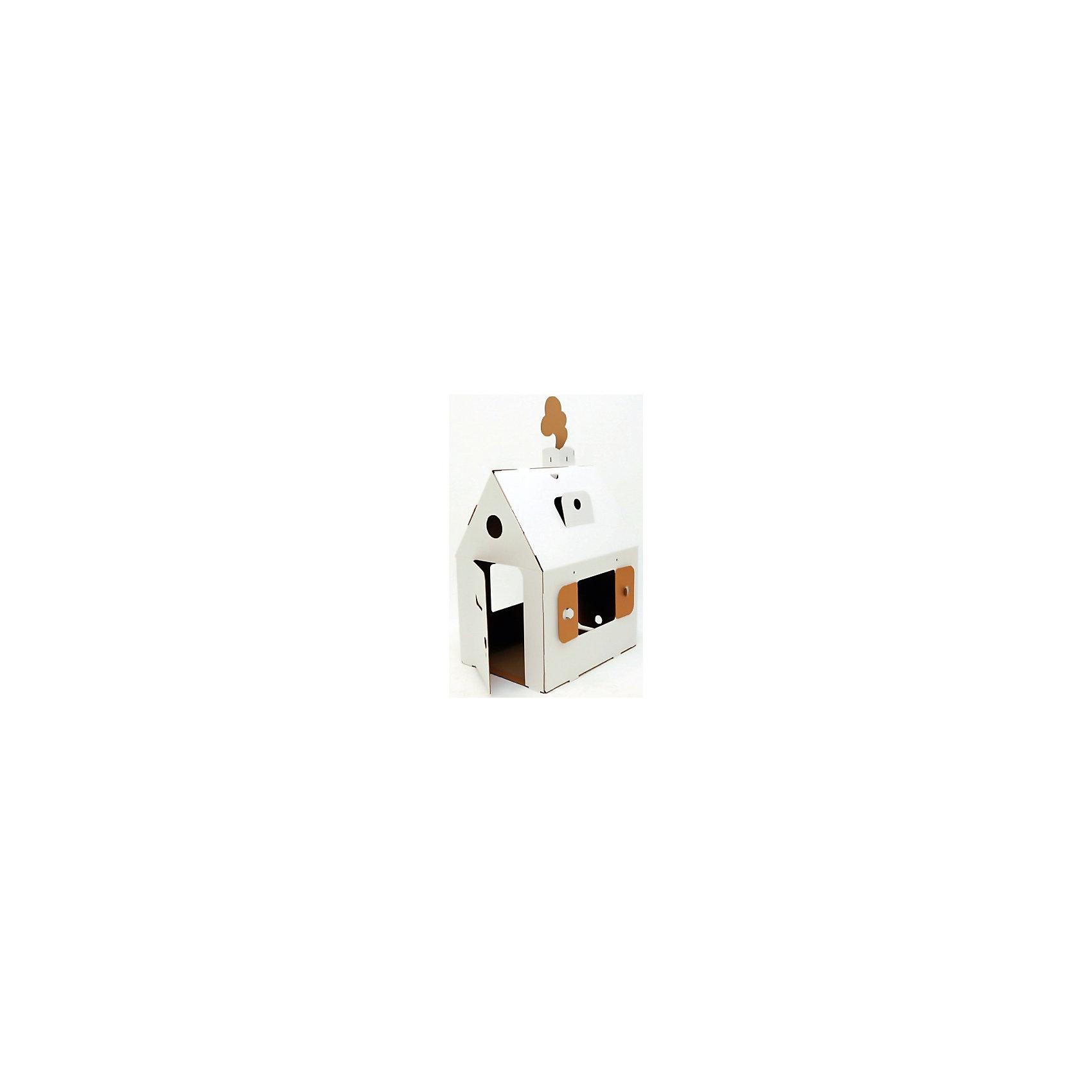 Домик из картона «Мини домик», белыйХарактеристики:<br><br>• тип домика: картонный кукольный домик;<br>• особенности домика: открываются окна и двери;<br>• имеется ручка для переноски домика, секретный лаз, отверстия для штор;<br>• материал: гофрокартон;<br>• размер домика: 81х65х48 см;<br>• размер упаковки: 76х61х60 см;<br>• вес: 1,8 кг.<br><br>Картонный домик быстро собирается, для сборки не используется клей или шурупы. Кукольный домик белого цвета, его можно раскрасить акриловыми или акварельными красками, можно использовать гуашь, фломастеры или карандаши. Домик оснащен дополнительными удобствами для развития детской фантазии: места для занавесок, тайный лаз, ручка для переноски, отверстие для почты, и даже замочная скважина. Игра обогащает детское воображение и фантазию, помогает развить речь и логику.<br><br>Домик из картона «Мини домик», белый можно купить в нашем магазине.<br><br>Ширина мм: 760<br>Глубина мм: 605<br>Высота мм: 55<br>Вес г: 1700<br>Возраст от месяцев: 36<br>Возраст до месяцев: 2147483647<br>Пол: Унисекс<br>Возраст: Детский<br>SKU: 5253038