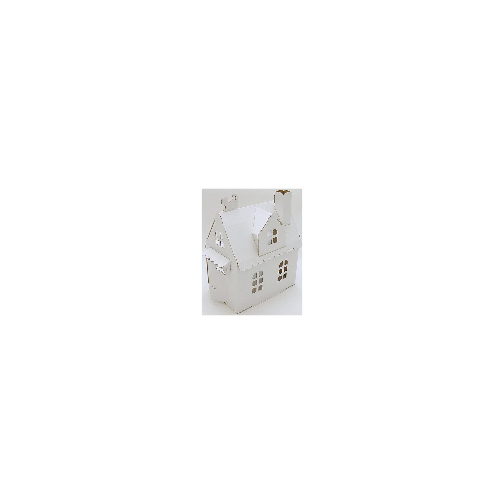 Кукольный домик из картона Домик Алисы, белыйБренды конструкторов<br>Характеристики:<br><br>• тип домика: кукольный домик из картона;<br>• особенности домика: открываются окна и двери;<br>• материал: 3-х слойный гофрокартон, толщина 3 мм;<br>• комплектация: детали для сборки домика, нейлоновые крепления;<br>• размер домика: 29х29х16 см;<br>• размер упаковки: 32х23х3 см;<br>• вес: 1,8 кг.<br><br>Картонный домик быстро собирается и разбирается, для сборки не используется клей, детали соединяются с помощью нейлоновых креплений. Кукольный домик компактный, не занимает много места, предназначен для мелких игрушечных зверушек или куколок. Домик белого цвета, его можно раскрасить акриловыми или акварельными красками, можно использовать гуашь, фломастеры или карандаши. Игра обогащает детское воображение и фантазию, помогает развить речь и логику.<br><br>Кукольный домик из картона Домик Алисы, белый можно купить в нашем магазине.<br><br>Ширина мм: 300<br>Глубина мм: 220<br>Высота мм: 30<br>Вес г: 300<br>Возраст от месяцев: 36<br>Возраст до месяцев: 2147483647<br>Пол: Женский<br>Возраст: Детский<br>SKU: 5253043