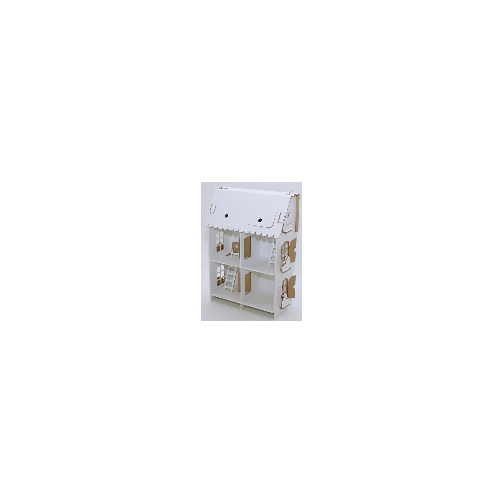 Кукольный домик из картона Четыре комнаты, белыйХарактеристики:<br><br>• тип домика: кукольный домик из картона;<br>• особенности домика: открываются окна и двери;<br>• материал: 3-х слойный гофрокартон, толщина 3 мм;<br>• комплектация: детали для сборки домика, нейлоновые крепления;<br>• размер домика: 65х46х22 см;<br>• размер упаковки: 48х48х6 см;<br>• вес: 1,1 кг.<br><br>Картонный домик быстро собирается и разбирается, без клея, детали соединяются с помощью нейлоновых креплений. Домик в три этажа, которые соединены лестнацами, домик разделен на комнаты, всего 6 помещений. Домик белого цвета, его можно раскрасить красками, фломастерами или карандашами. Игра обогащает детское воображение и фантазию, помогает развить речь и логику.<br><br>Кукольный домик из картона Четыре комнаты, белый можно купить в нашем магазине.<br><br>Ширина мм: 460<br>Глубина мм: 460<br>Высота мм: 65<br>Вес г: 1200<br>Возраст от месяцев: 36<br>Возраст до месяцев: 2147483647<br>Пол: Женский<br>Возраст: Детский<br>SKU: 5253044