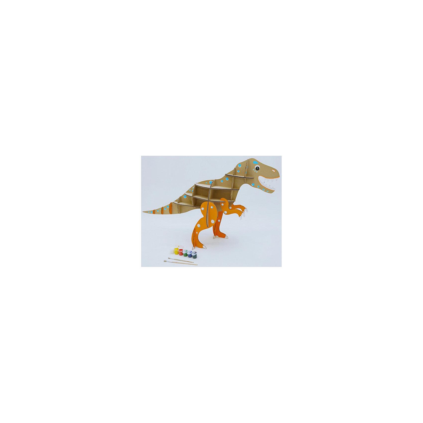 Набор игровой из картона Домашний динозавр: Тираннозавр, крафтБренды конструкторов<br>Характеристики:<br><br>• сборная модель из картонных деталей, без клея и ножниц;<br>• материал: гофрокартон;<br>• комплектация: детали для сборки динозавра, нейлоновые крепления, инструкция;<br>• размер динозавра в собранном виде: 89х83х32 см;<br>• размер упаковки: 46х46х7 см;<br>• вес: 1,3 кг.<br><br>Набор для творчества «Тираннозавр» из серии «Домашний динозавр» предлагает ребятам собрать модель динозавра из картонных деталей. Модель собирается без клея, подробная инструкция объясняет процесс работы. У динозавра бока представлены как полочки, на которых удобно разместятся мелкие игрушечные зверушки, куколки или детские поделки. При желании динозавра можно раскрасить красками, фломастерами или карандашами.<br><br>Набор игровой из картона Домашний динозавр: Тираннозавр, крафт можно купить в нашем магазине.<br><br>Ширина мм: 460<br>Глубина мм: 460<br>Высота мм: 65<br>Вес г: 1100<br>Возраст от месяцев: 36<br>Возраст до месяцев: 2147483647<br>Пол: Унисекс<br>Возраст: Детский<br>SKU: 5253048
