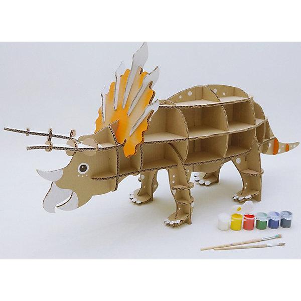 Набор игровой из картона Домашний Трицератопс, крафтИгровые наборы с фигурками<br>Характеристики:<br><br>• сборная модель из картонных деталей, без клея и ножниц;<br>• материал: гофрокартон;<br>• комплектация: детали для сборки динозавра, нейлоновые крепления, инструкция;<br>• размер динозавра в собранном виде: 96х47х28 см;<br>• размер упаковки: 46х46х7 см;<br>• вес: 1,3 кг.<br><br>Набор для творчества «Трицератопс» из серии «Домашний динозавр» предлагает ребятам собрать модель динозавра из картонных деталей. Модель собирается без клея, подробная инструкция объясняет процесс работы. У динозавра бока представлены как полочки, на которых удобно разместятся мелкие игрушечные зверушки, куколки или детские поделки. При желании динозавра можно раскрасить красками, фломастерами или карандашами.<br><br>Набор игровой из картона Домашний Трицератопс, крафт можно купить в нашем магазине.<br><br>Ширина мм: 460<br>Глубина мм: 460<br>Высота мм: 65<br>Вес г: 1100<br>Возраст от месяцев: 36<br>Возраст до месяцев: 2147483647<br>Пол: Унисекс<br>Возраст: Детский<br>SKU: 5253050
