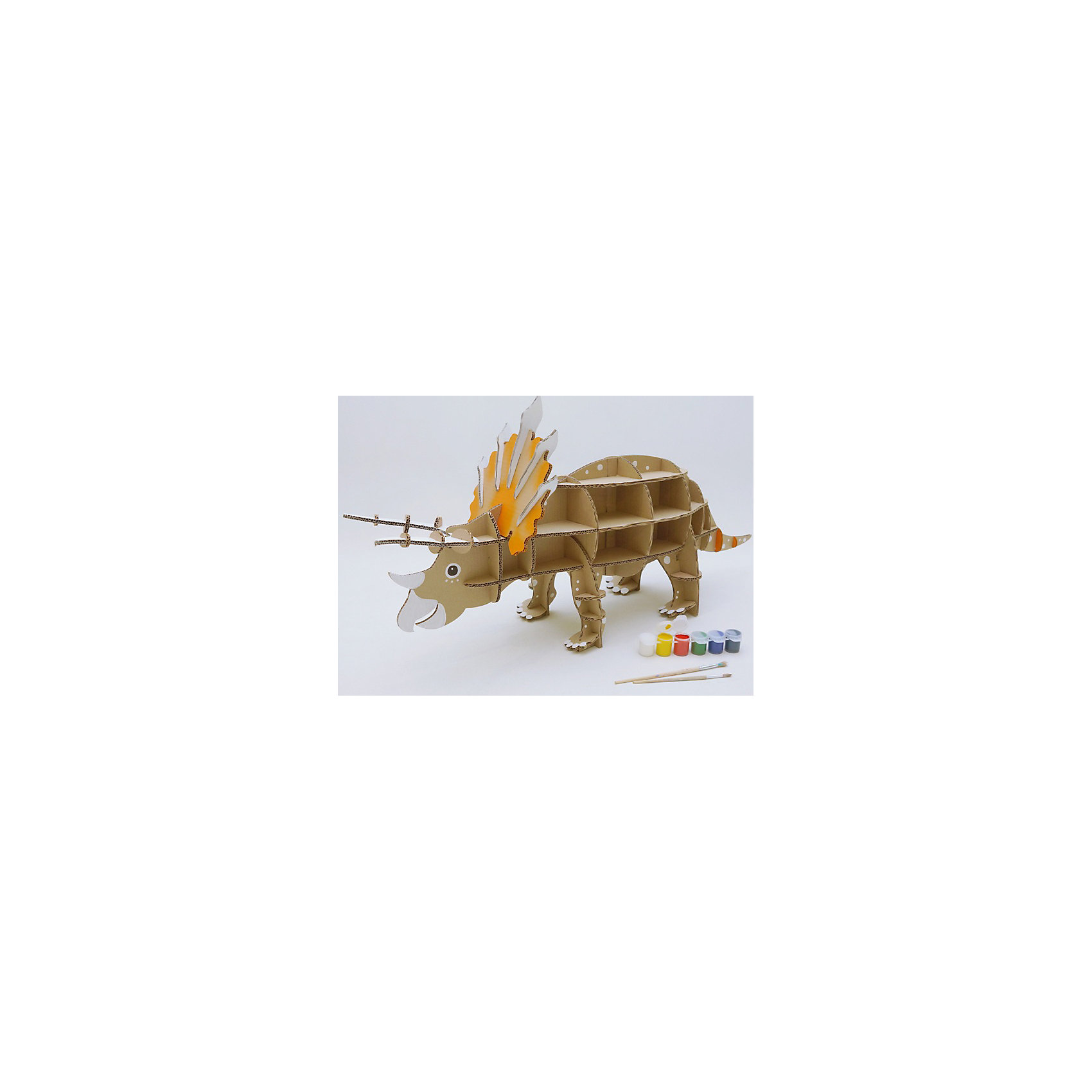 Набор игровой из картона Домашний Трицератопс, крафтБренды конструкторов<br>Характеристики:<br><br>• сборная модель из картонных деталей, без клея и ножниц;<br>• материал: гофрокартон;<br>• комплектация: детали для сборки динозавра, нейлоновые крепления, инструкция;<br>• размер динозавра в собранном виде: 96х47х28 см;<br>• размер упаковки: 46х46х7 см;<br>• вес: 1,3 кг.<br><br>Набор для творчества «Трицератопс» из серии «Домашний динозавр» предлагает ребятам собрать модель динозавра из картонных деталей. Модель собирается без клея, подробная инструкция объясняет процесс работы. У динозавра бока представлены как полочки, на которых удобно разместятся мелкие игрушечные зверушки, куколки или детские поделки. При желании динозавра можно раскрасить красками, фломастерами или карандашами.<br><br>Набор игровой из картона Домашний Трицератопс, крафт можно купить в нашем магазине.<br><br>Ширина мм: 460<br>Глубина мм: 460<br>Высота мм: 65<br>Вес г: 1100<br>Возраст от месяцев: 36<br>Возраст до месяцев: 2147483647<br>Пол: Унисекс<br>Возраст: Детский<br>SKU: 5253050