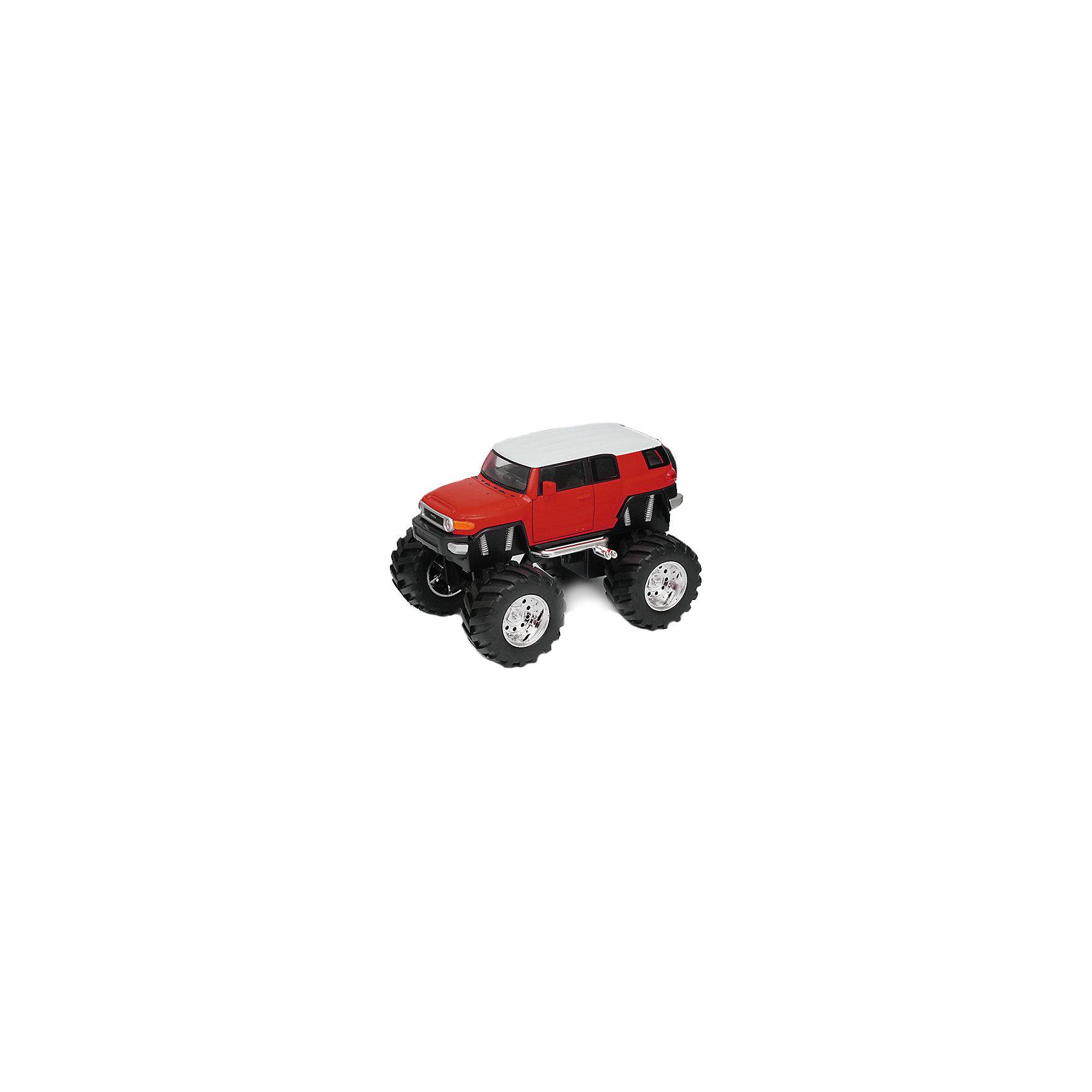 Модель машины 1:34-39 Toyota FJ Cruiser Big Wheel, красная, WellyХарактеристики:<br><br>• тип автомобиля: внедорожник;<br>• открываются двери;<br>• прорезиненные колеса;<br>• инерционный механизм;<br>• масштаб: 1:34-39;<br>• материал: металл, пластик;<br>• размер упаковки: 15х11х6 см.<br><br>Устроить настоящие гонки на внедорожниках помогут машинки Toyota FJ Cruiser Big Wheel. Мощные колеса, инерционный механизм, прочный корпус машинки дают возможность проводить соревнования снова и снова, машинки не бьются и не разбиваются. <br><br>Модель машины 1:34-39 Toyota FJ Cruiser Big Wheel, красная, Welly можно купить в нашем магазине.<br><br>Ширина мм: 155<br>Глубина мм: 95<br>Высота мм: 100<br>Вес г: 288<br>Возраст от месяцев: 36<br>Возраст до месяцев: 2147483647<br>Пол: Мужской<br>Возраст: Детский<br>SKU: 5255008