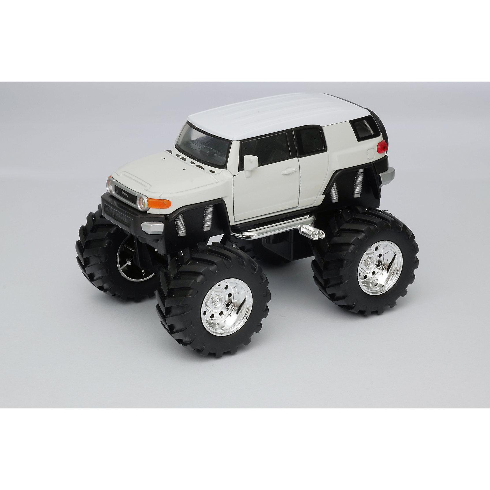 Модель машины 1:34-39 Toyota FJ Cruiser Big Wheel, белая, WellyХарактеристики:<br><br>• тип автомобиля: внедорожник;<br>• открываются двери;<br>• прорезиненные колеса;<br>• инерционный механизм;<br>• масштаб: 1:34-39;<br>• материал: металл, пластик;<br>• размер упаковки: 15х11х6 см.<br><br>Устроить настоящие гонки на внедорожниках помогут машинки Toyota FJ Cruiser Big Wheel. Мощные колеса, инерционный механизм, прочный корпус машинки дают возможность проводить соревнования снова и снова, машинки не бьются и не разбиваются. <br><br>Модель машины 1:34-39 Toyota FJ Cruiser Big Wheel, белая, Welly можно купить в нашем магазине.<br><br>Ширина мм: 155<br>Глубина мм: 95<br>Высота мм: 100<br>Вес г: 288<br>Возраст от месяцев: 36<br>Возраст до месяцев: 2147483647<br>Пол: Мужской<br>Возраст: Детский<br>SKU: 5255009