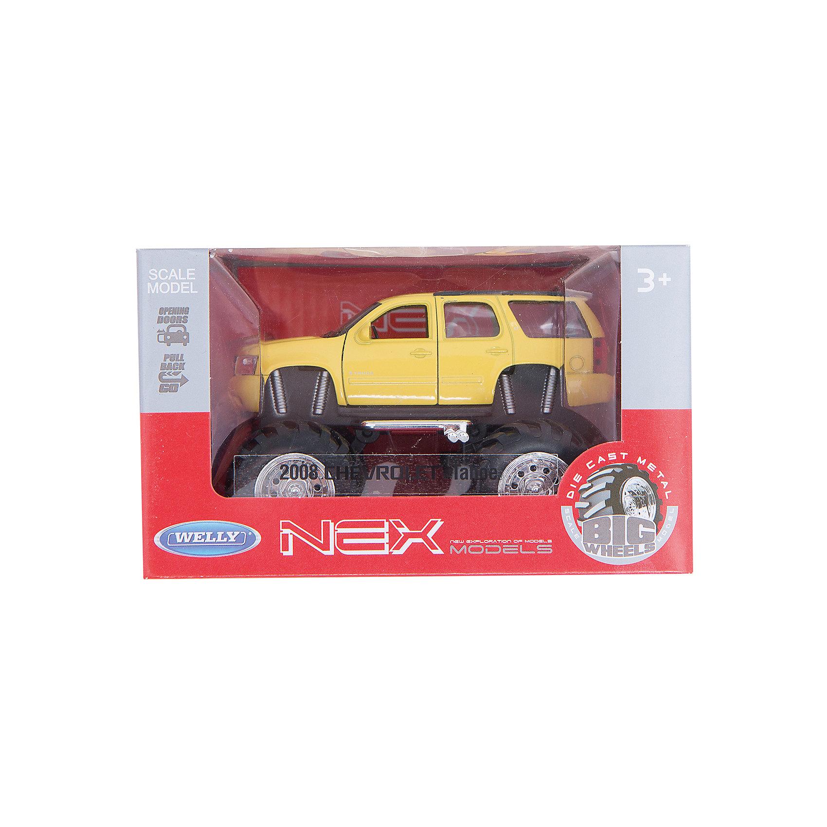 Модель машины 1:34-39 Chevrolet Tahoe Big Wheel, жёлтая, Welly<br><br>Ширина мм: 155<br>Глубина мм: 95<br>Высота мм: 100<br>Вес г: 294<br>Возраст от месяцев: 36<br>Возраст до месяцев: 2147483647<br>Пол: Мужской<br>Возраст: Детский<br>SKU: 5255010